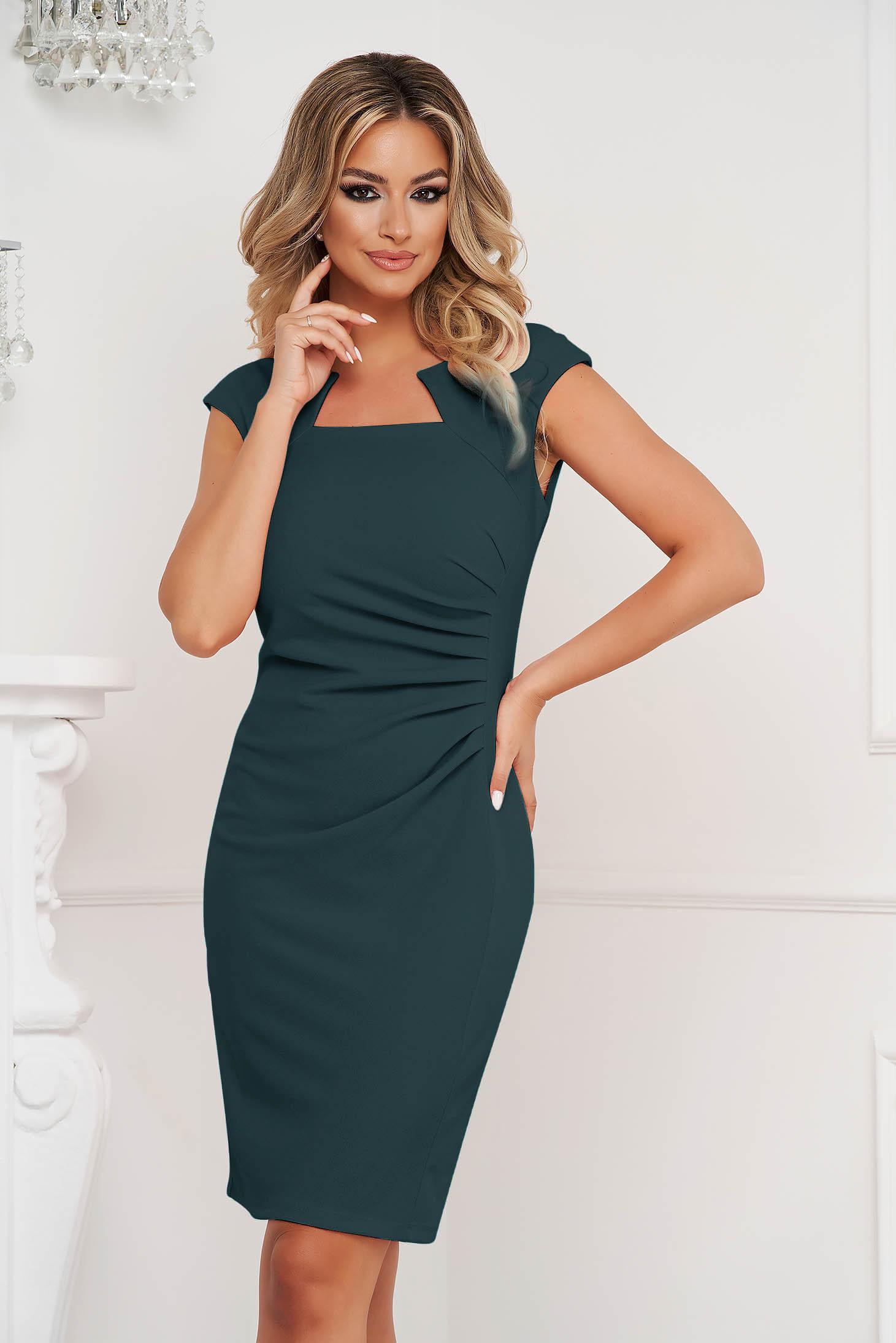 Darkgreen dress office short cut pencil from elastic fabric short sleeves