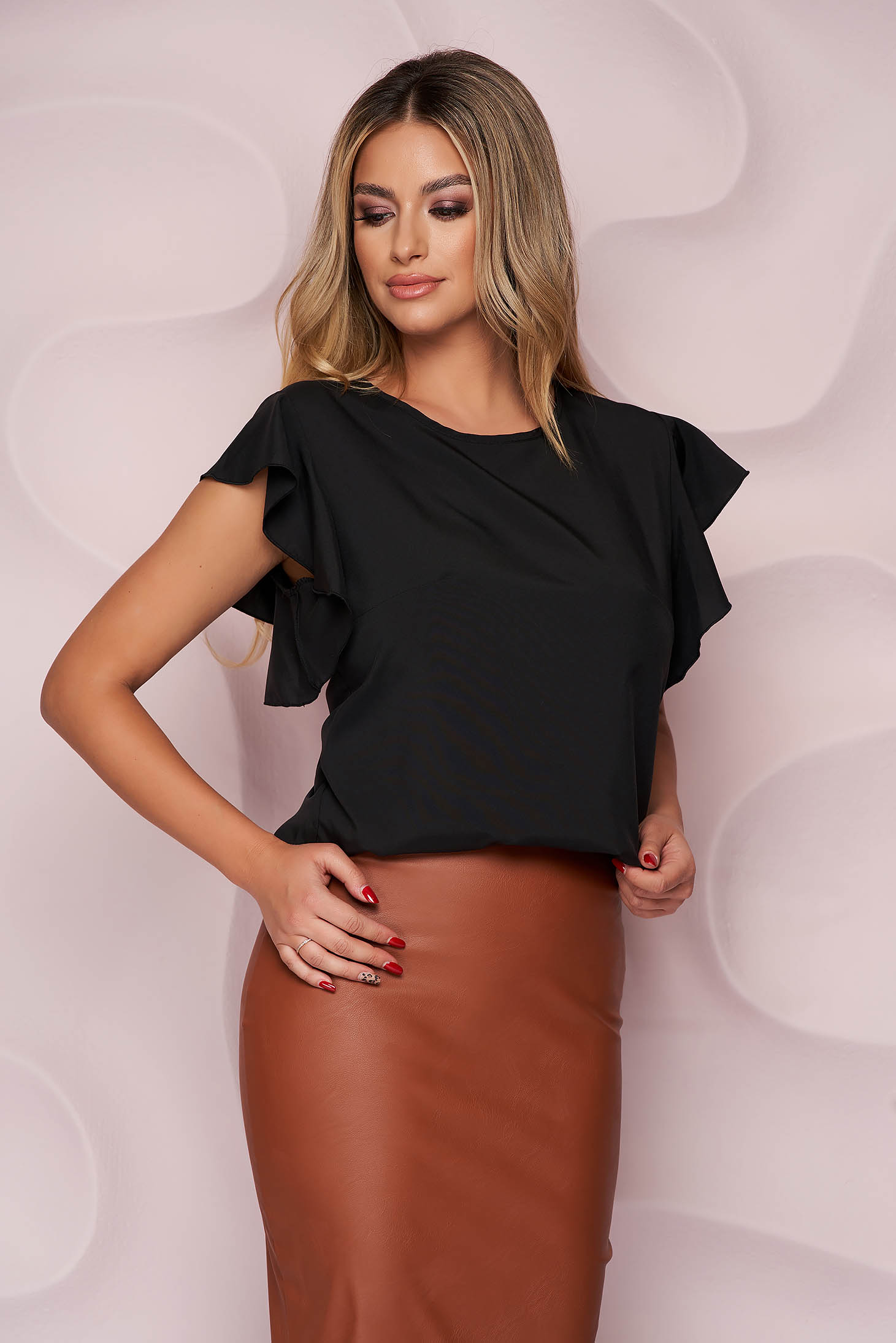 StarShinerS black women`s blouse office loose fit light material with ruffled sleeves