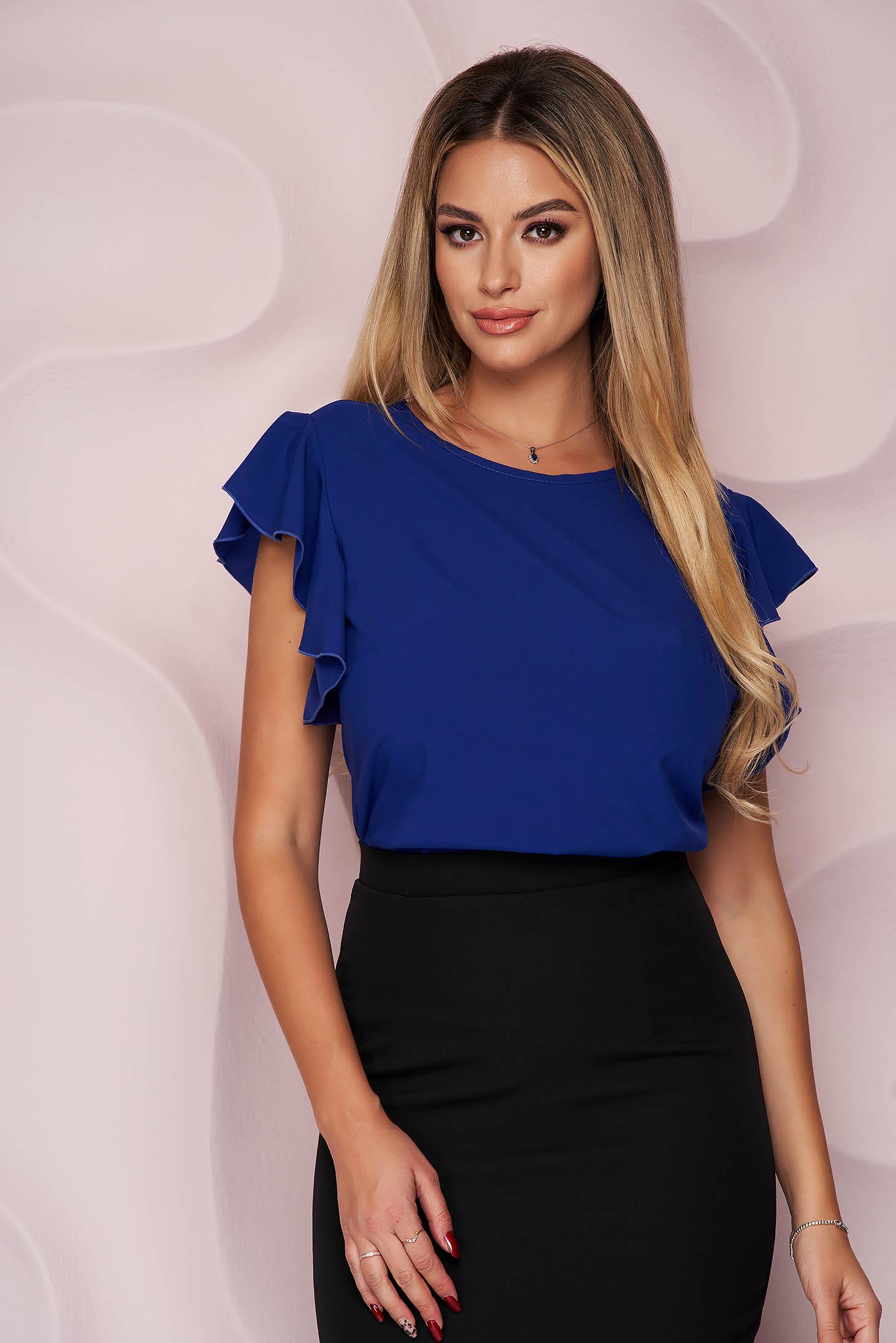 Bluza dama StarShinerS albastra office cu croi larg din material fluid cu volanase la maneca