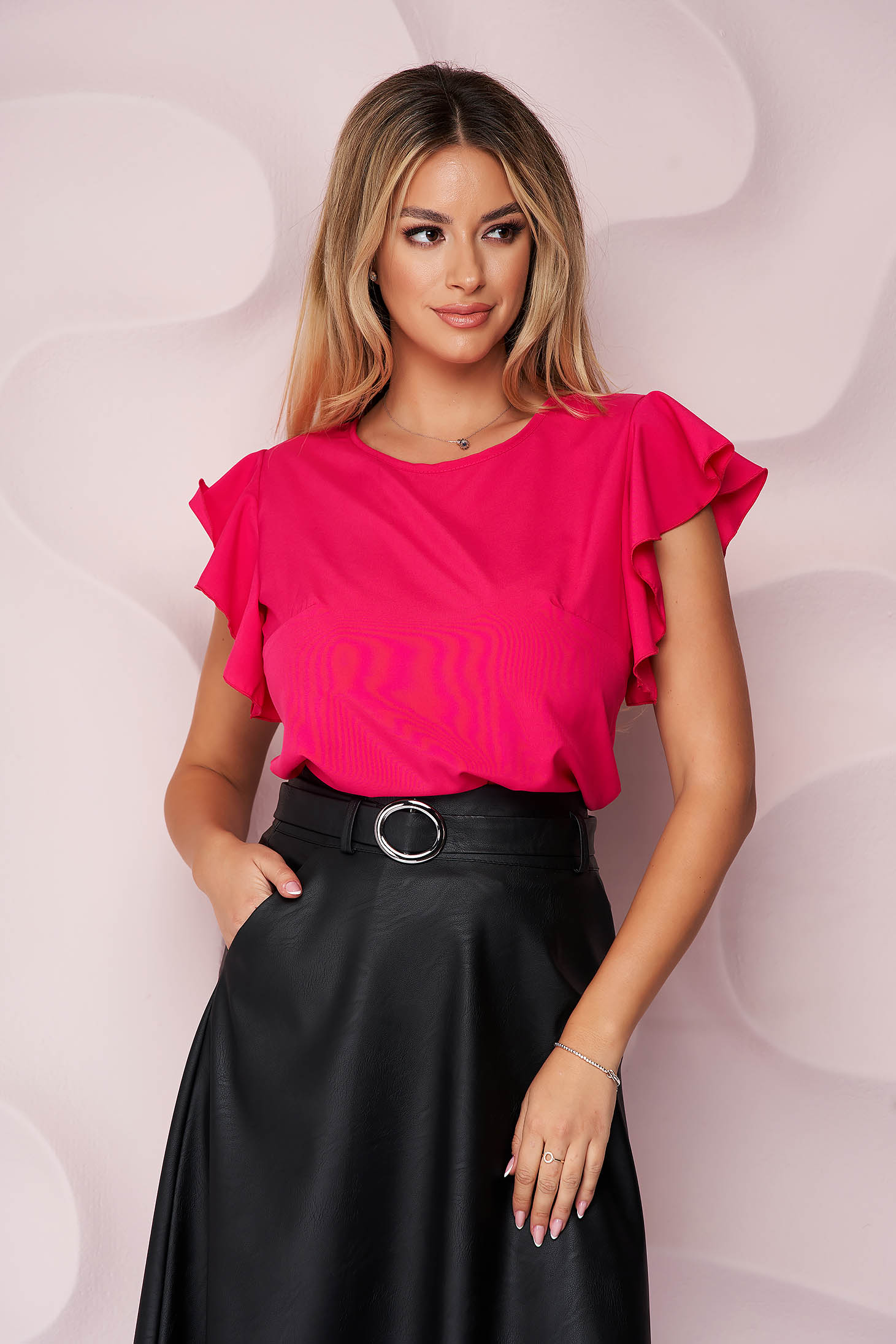 StarShinerS fuchsia women`s blouse office loose fit light material with ruffled sleeves