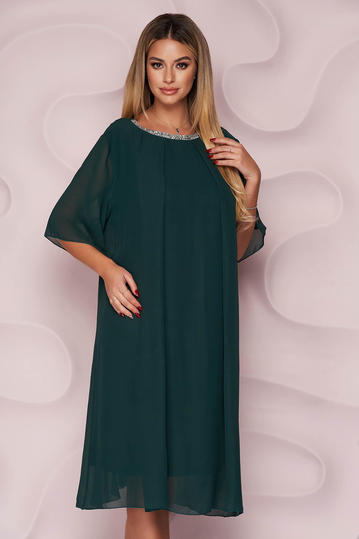 Bő szabású zöld midi muszlin ruha strassz köves díszítés alkalmi