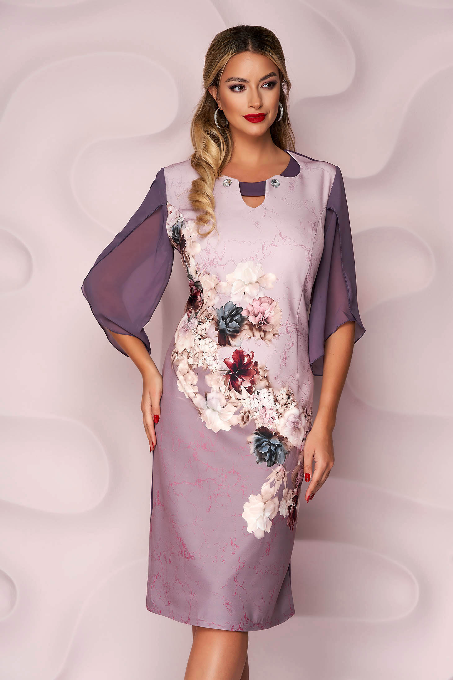 Lila dress midi occasional from elastic fabric with padded shoulders with floral print straight