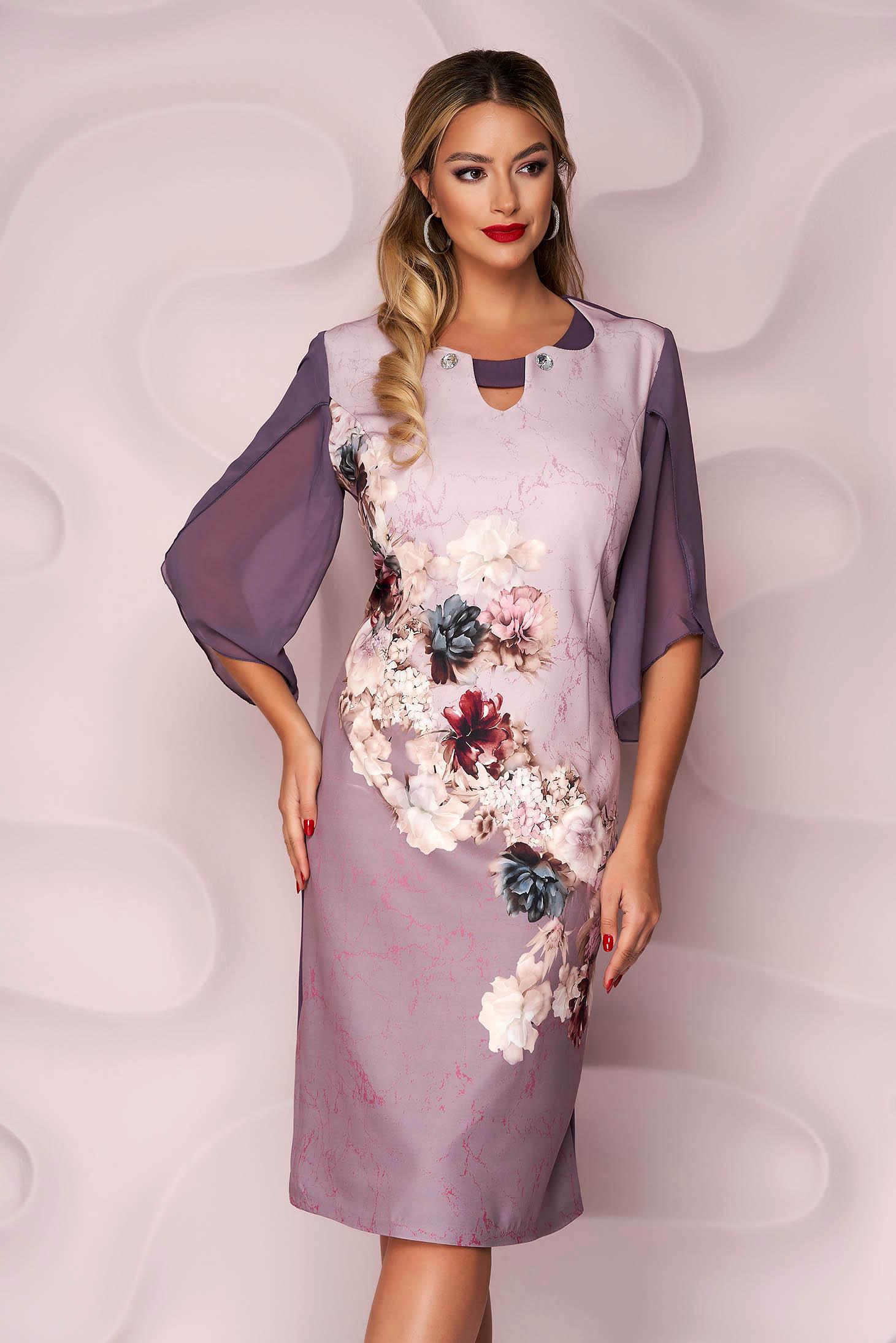 Rochie Lady Pandora lila midi de ocazie cu un croi drept din material elastic cu umerii buretati si imprimeu floral