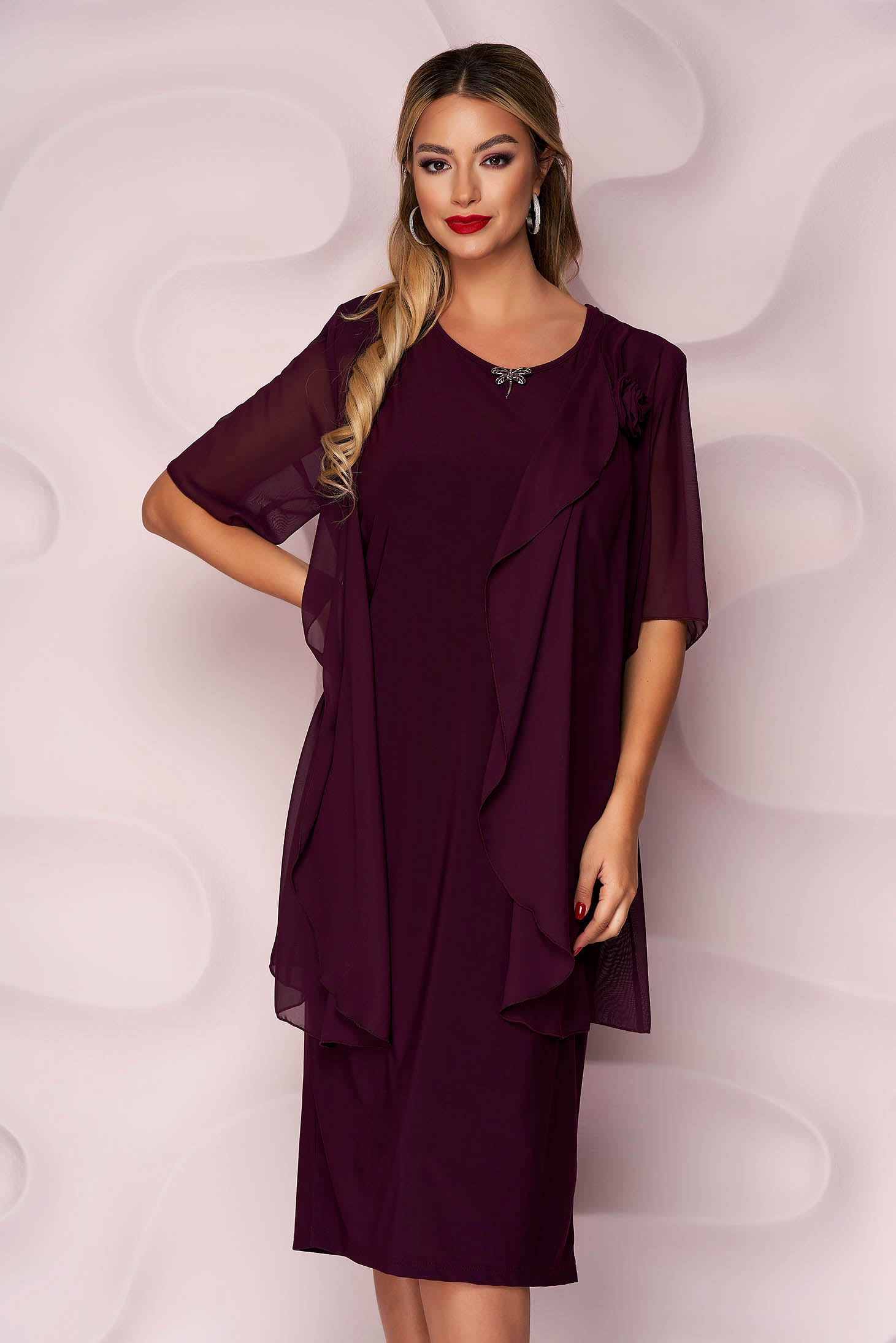 Purple dress midi occasional voile overlay with padded shoulders straight