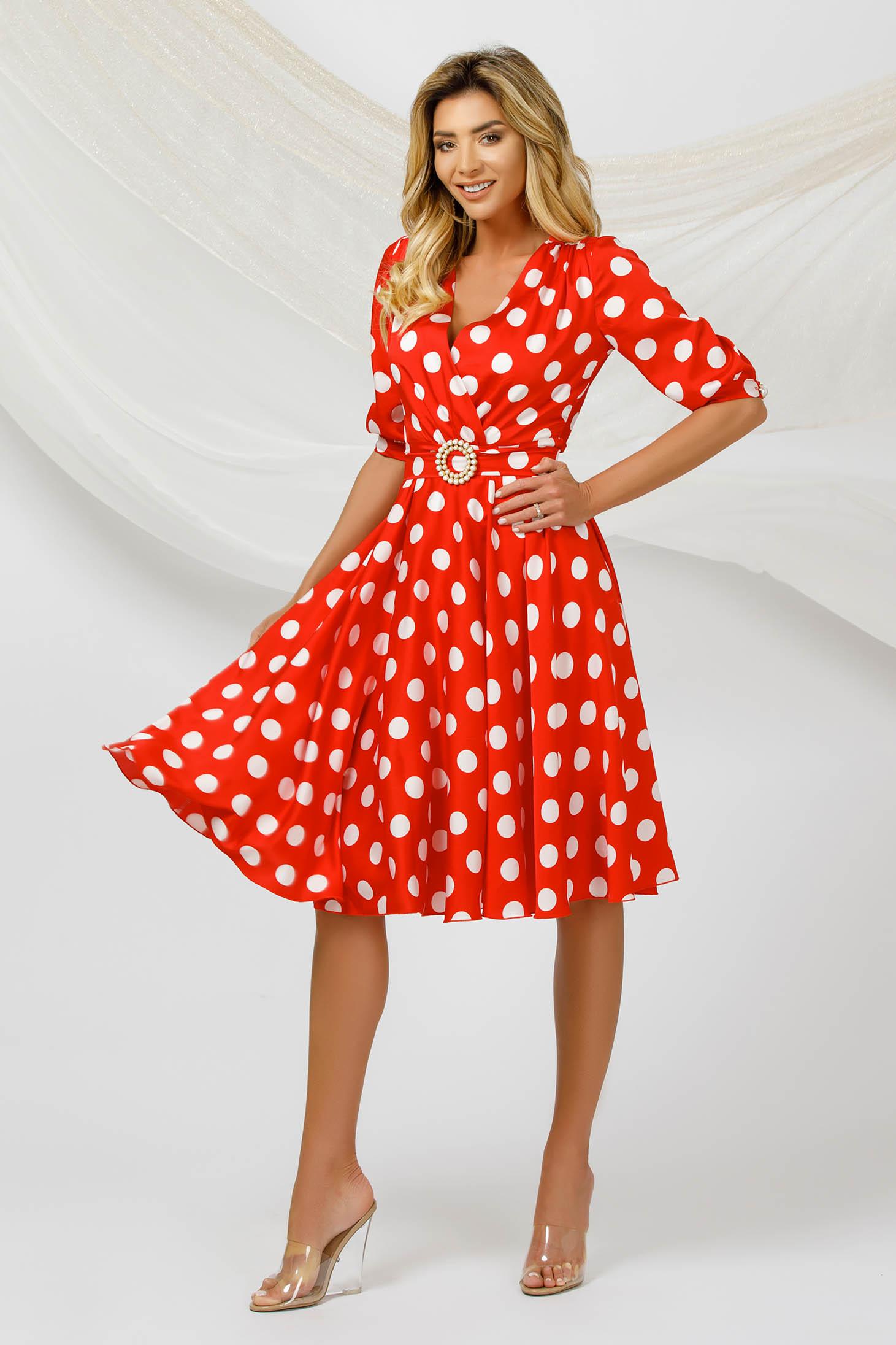 Dress elegant cloche airy fabric from satin fabric texture dots print