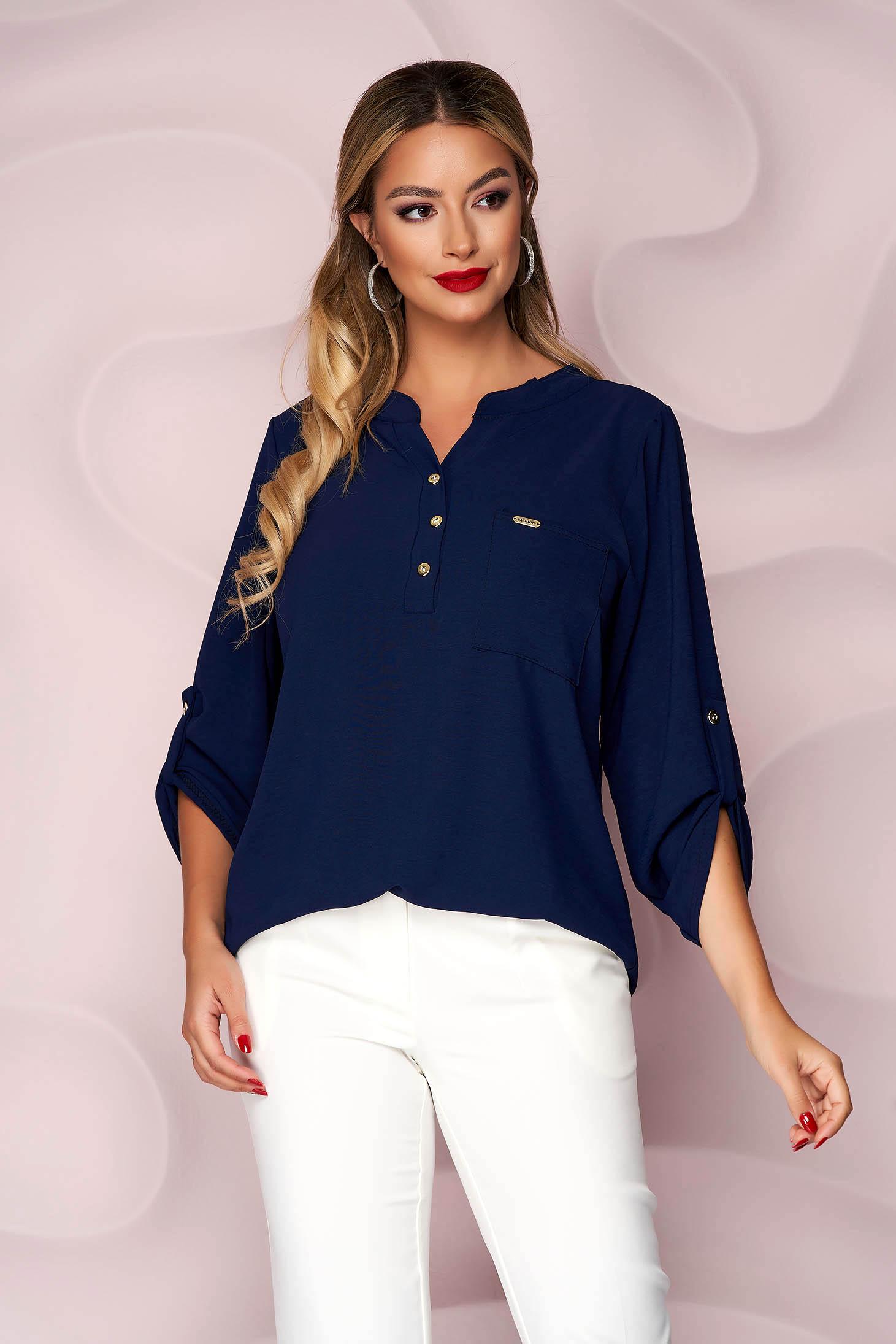 Bluza dama Lady Pandora albastru-inchis din material vaporos si creponat cu croi larg si buzunar in fata