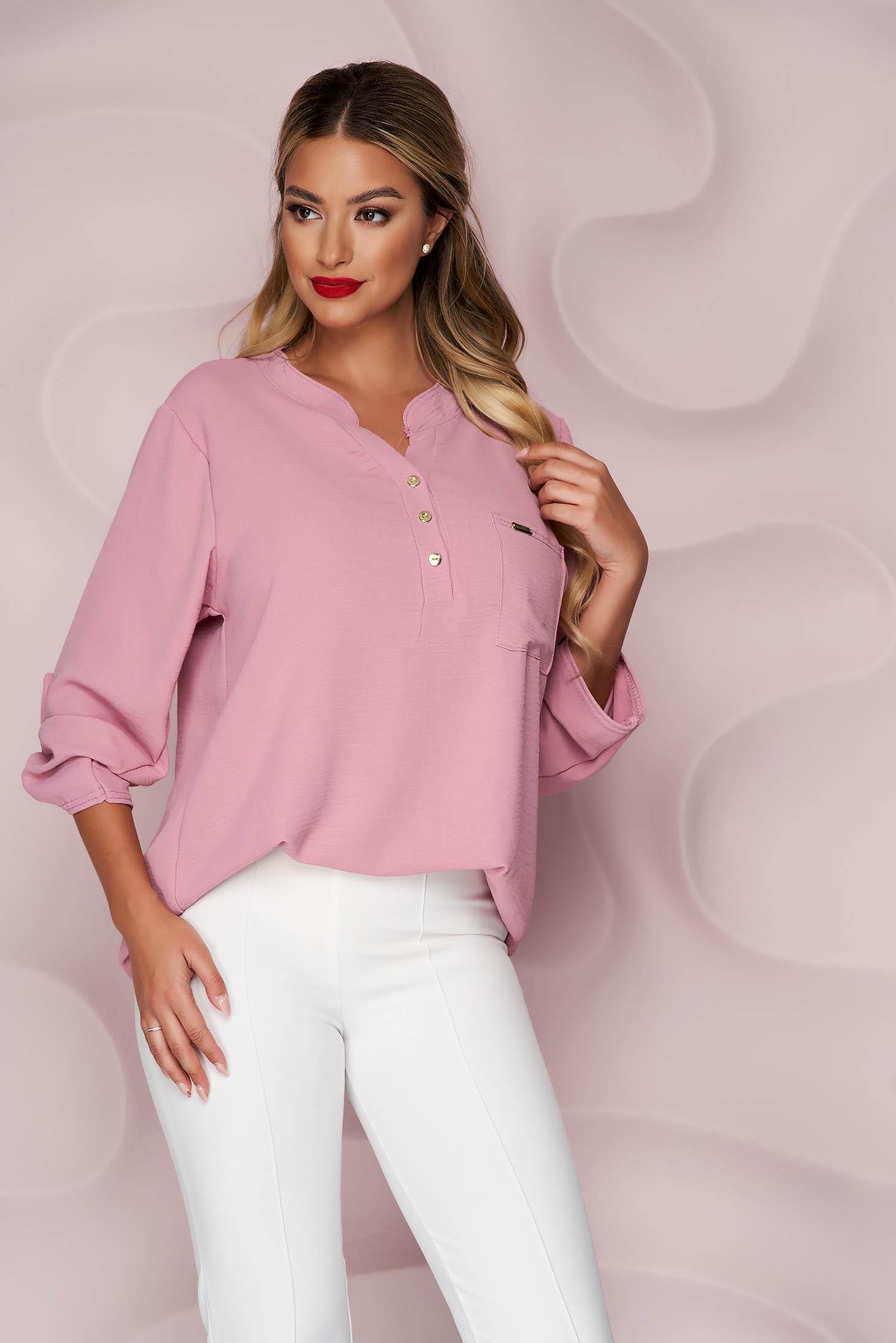 Lightpink women`s blouse loose fit wrinkled material a front pocket