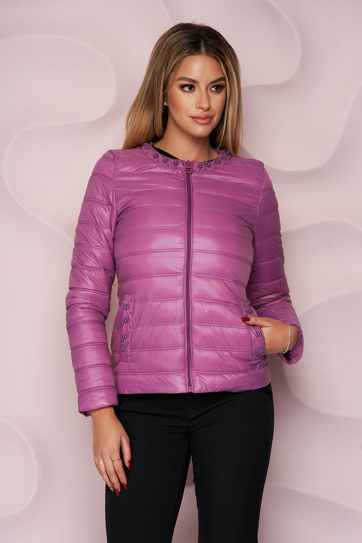 Purple jacket from slicker thin fabric with pockets with pearls straight