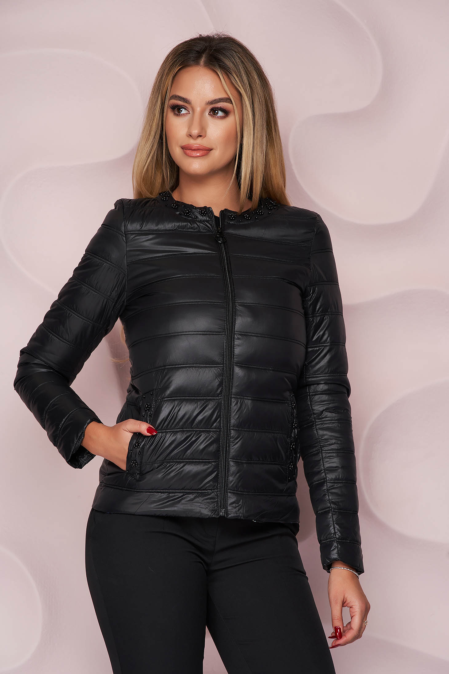 Black jacket from slicker thin fabric with pockets with pearls straight