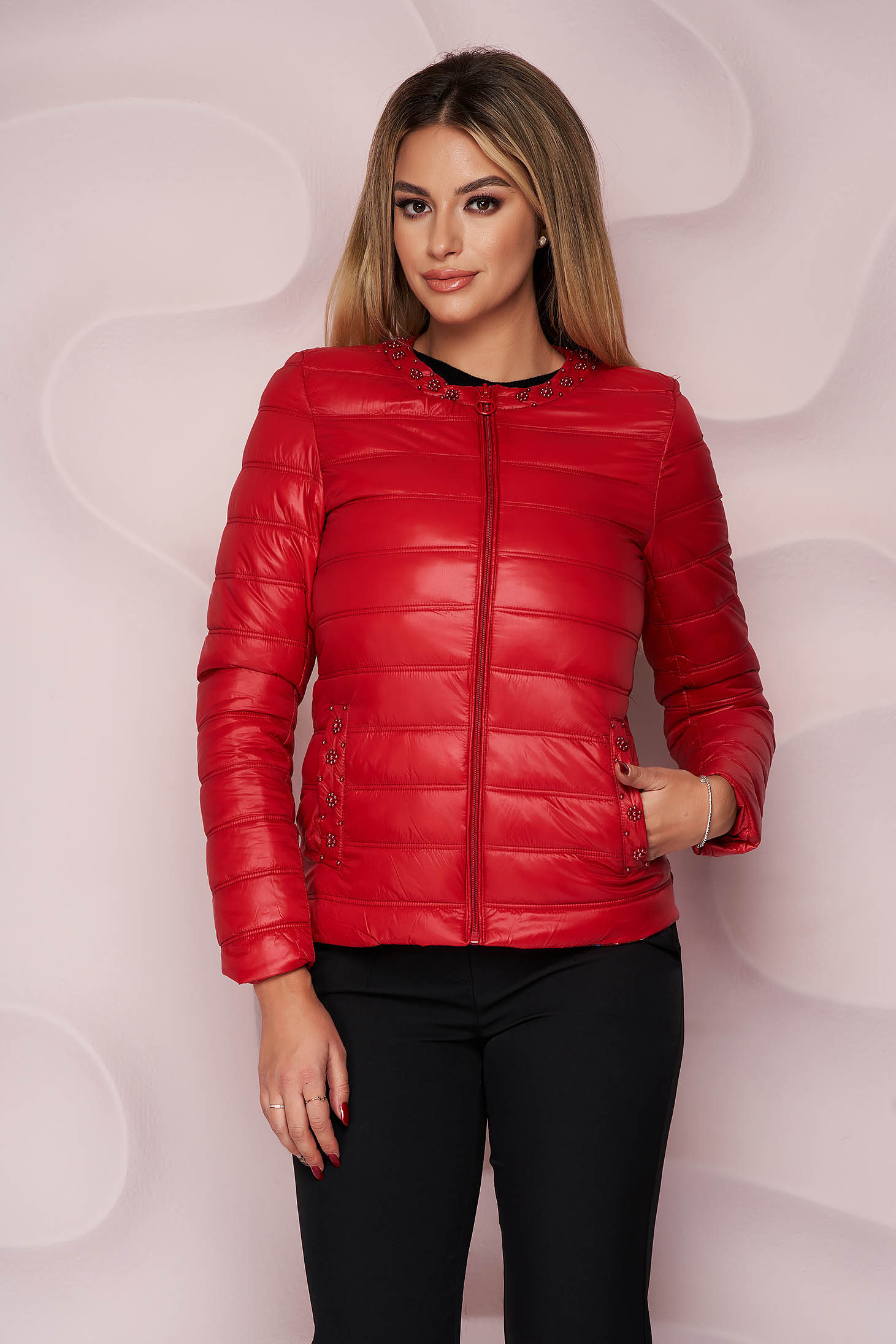 Red jacket from slicker thin fabric with pockets with pearls straight