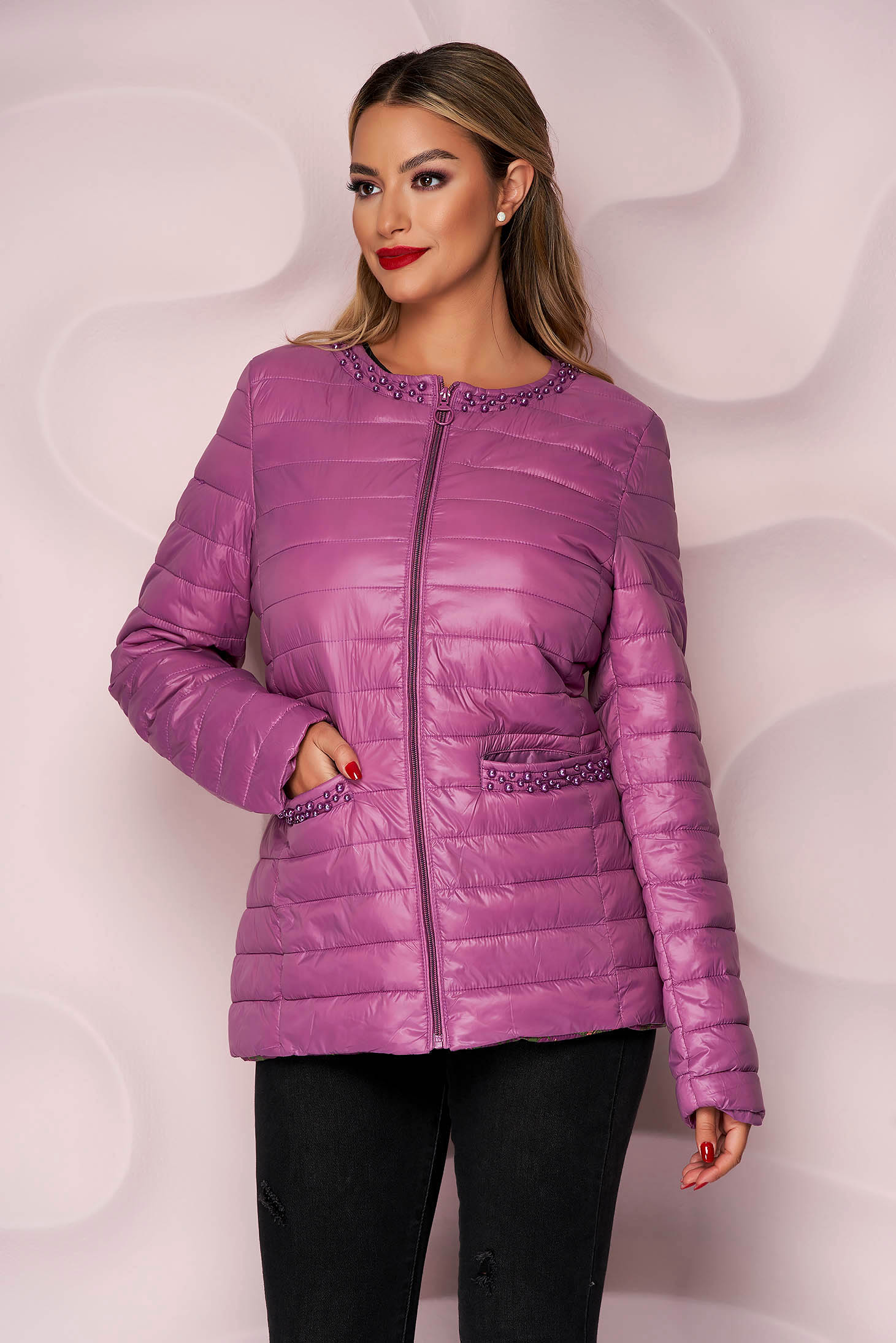 Purple jacket from slicker thin fabric with pearls straight