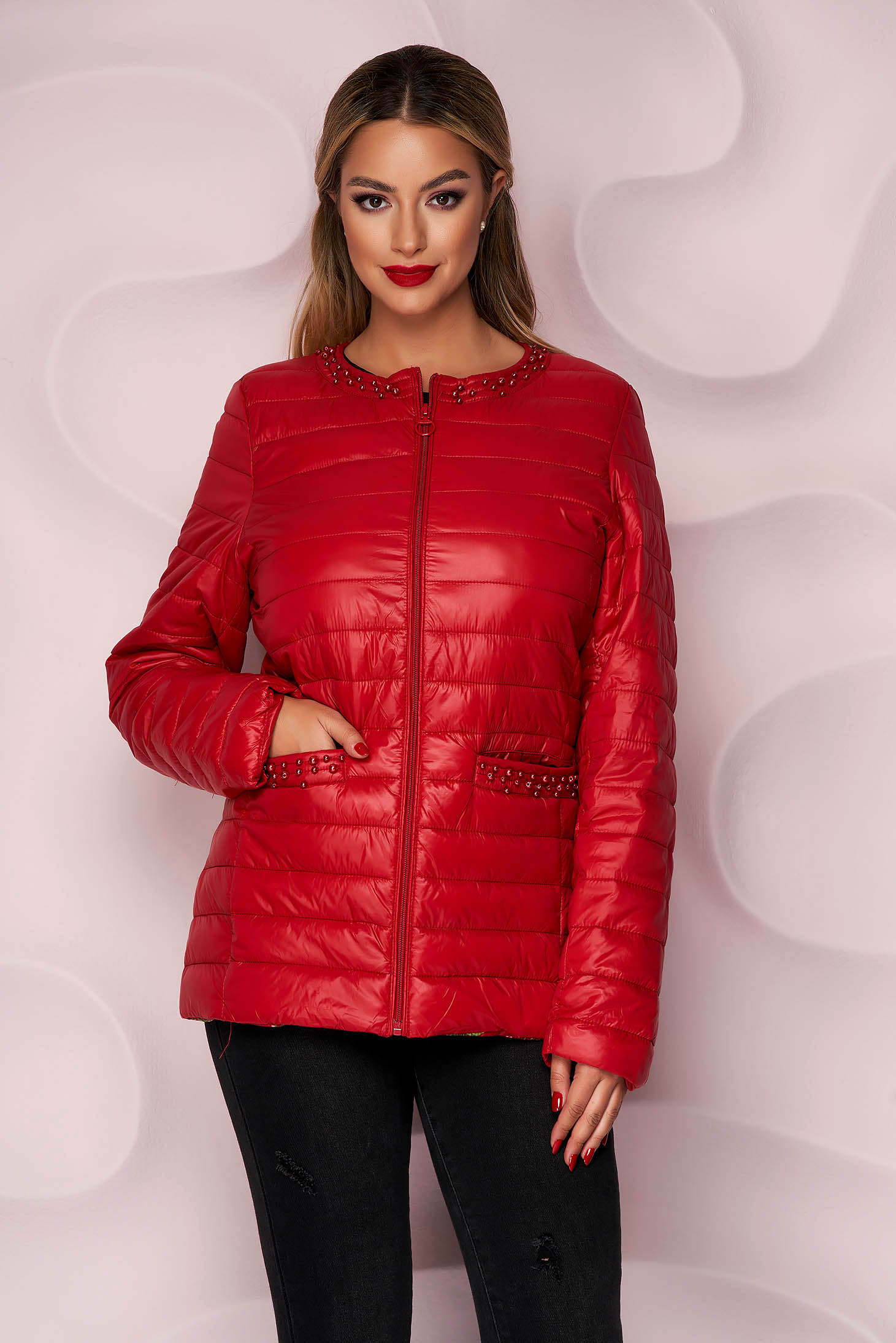 Red jacket from slicker thin fabric with pearls straight