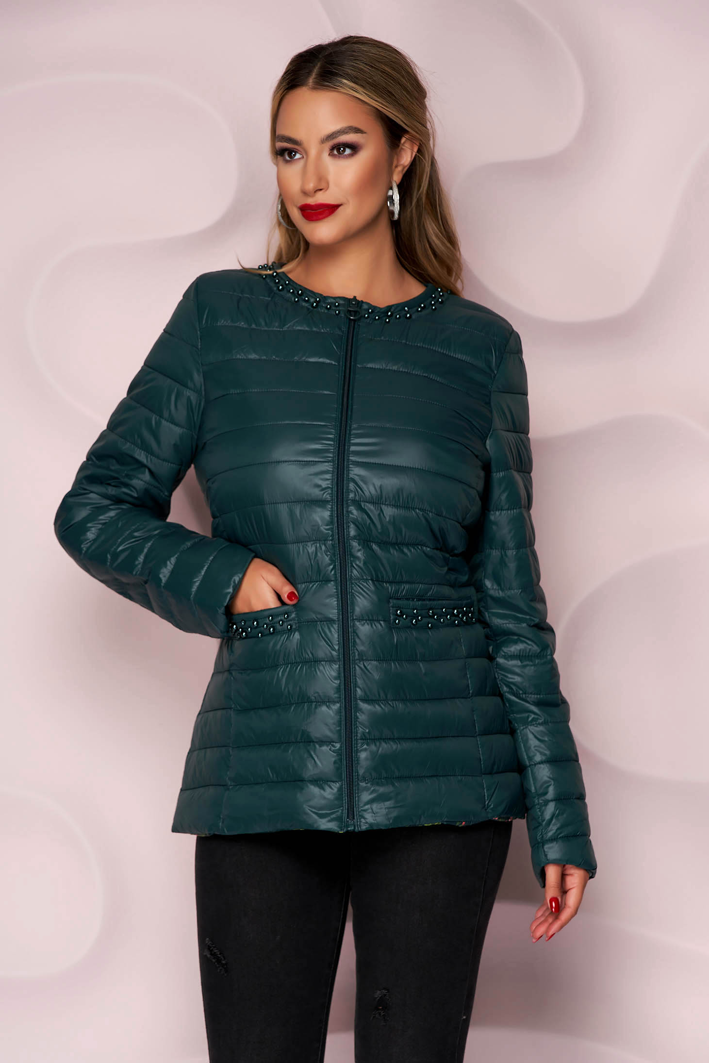 Darkgreen jacket from slicker thin fabric with pearls straight