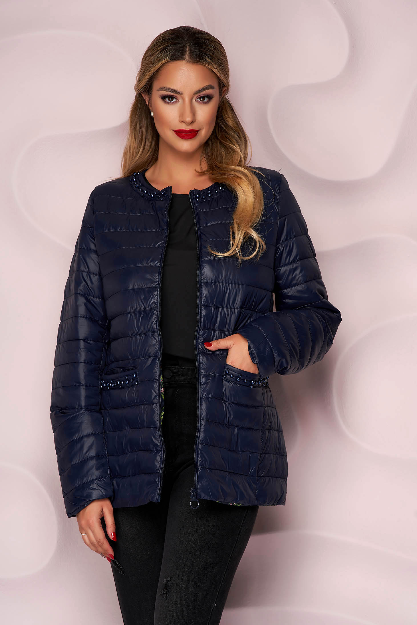 Darkblue jacket from slicker thin fabric with pearls straight