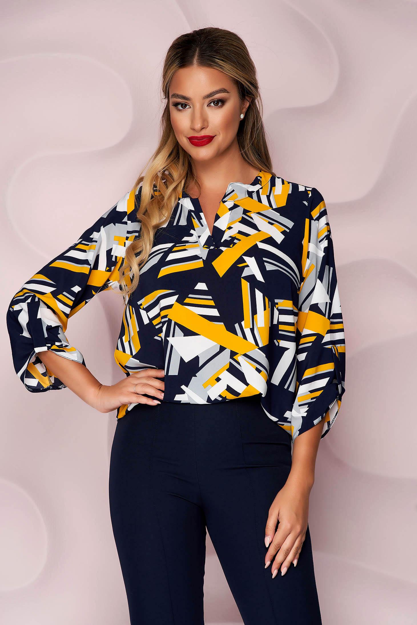 Bluza dama Lady Pandora office scurta cu croi larg din material subtire si usor elastic