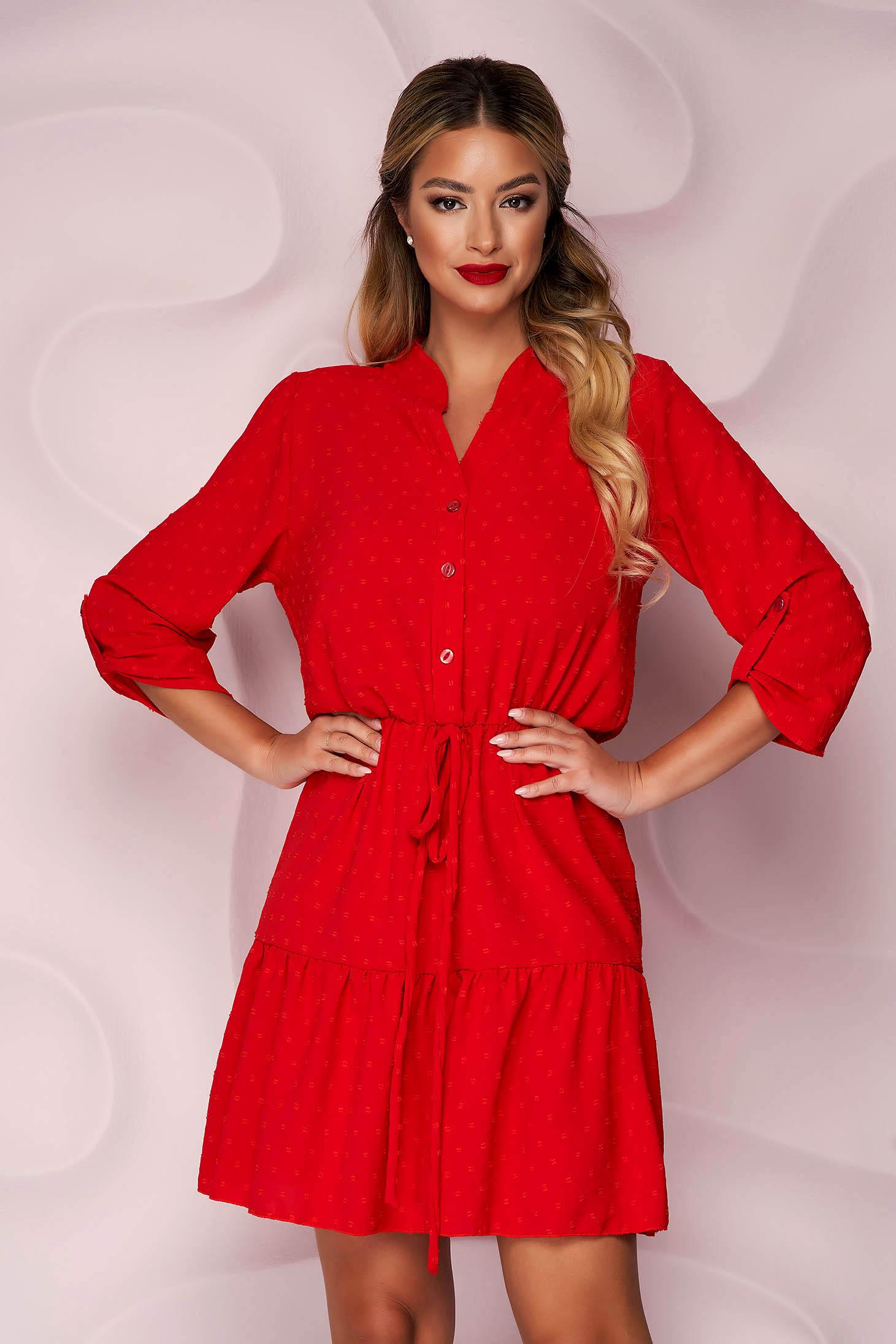 Red dress short cut cloche with elastic waist from veil fabric plumeti