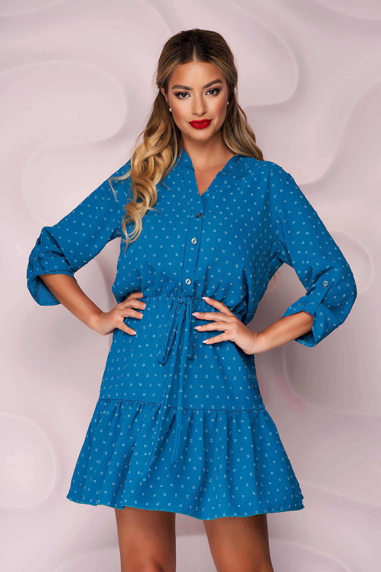 Türkizzöld rövid harang alakú ruha gumirozott derékrésszel muszlinból