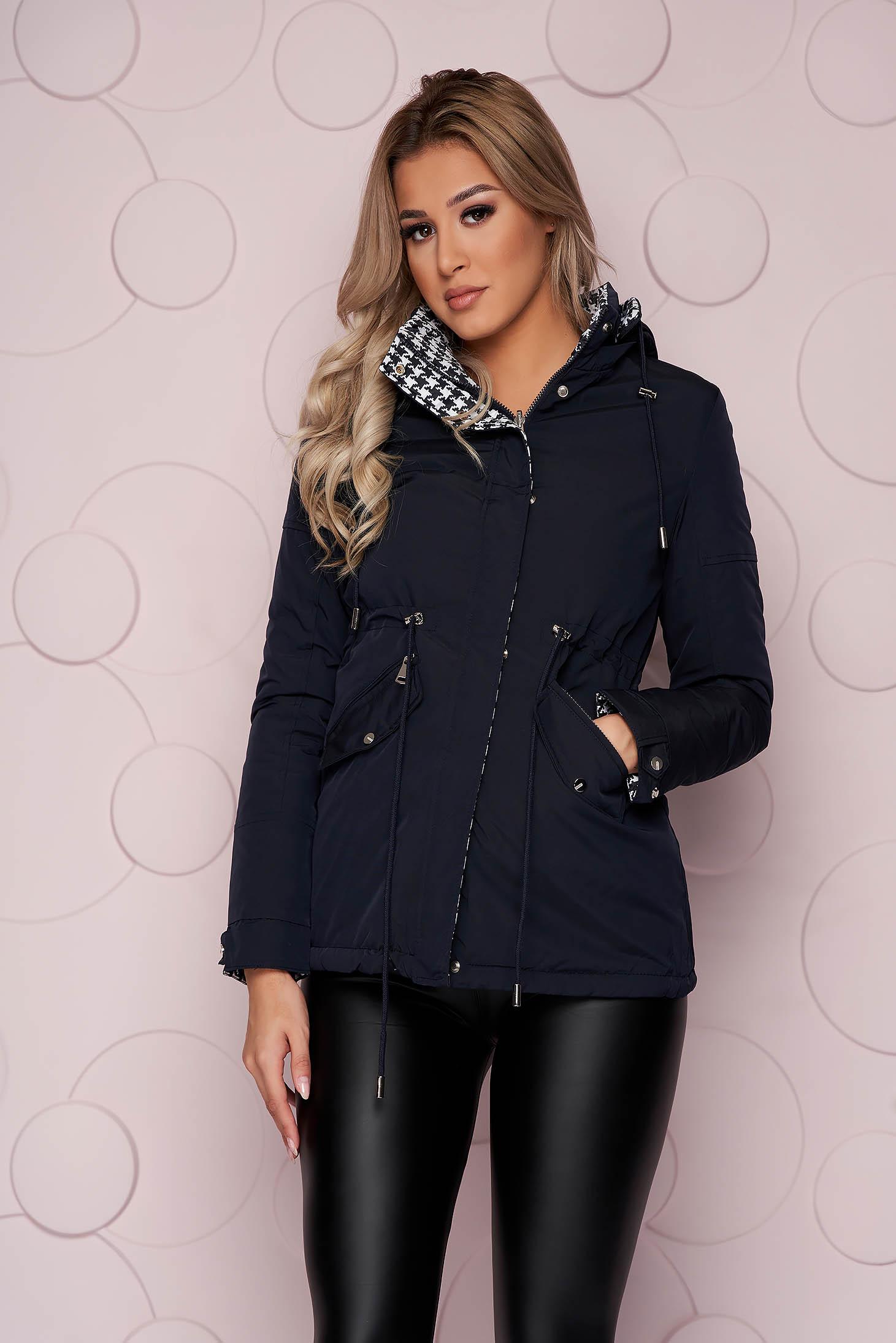 Darkblue jacket midi tented from slicker double-faced detachable hood
