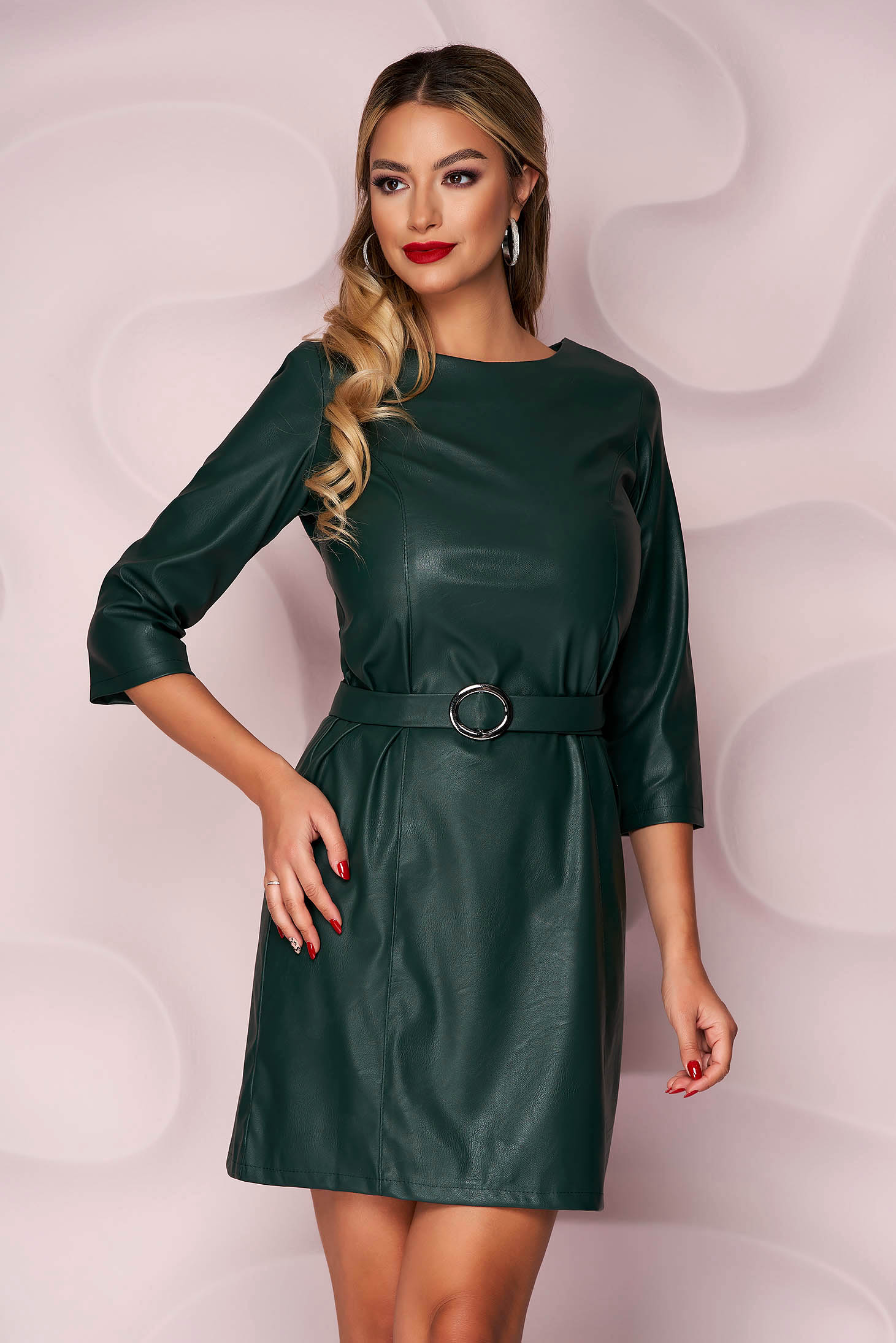 Darkgreen dress casual straight from ecological leather faux leather belt