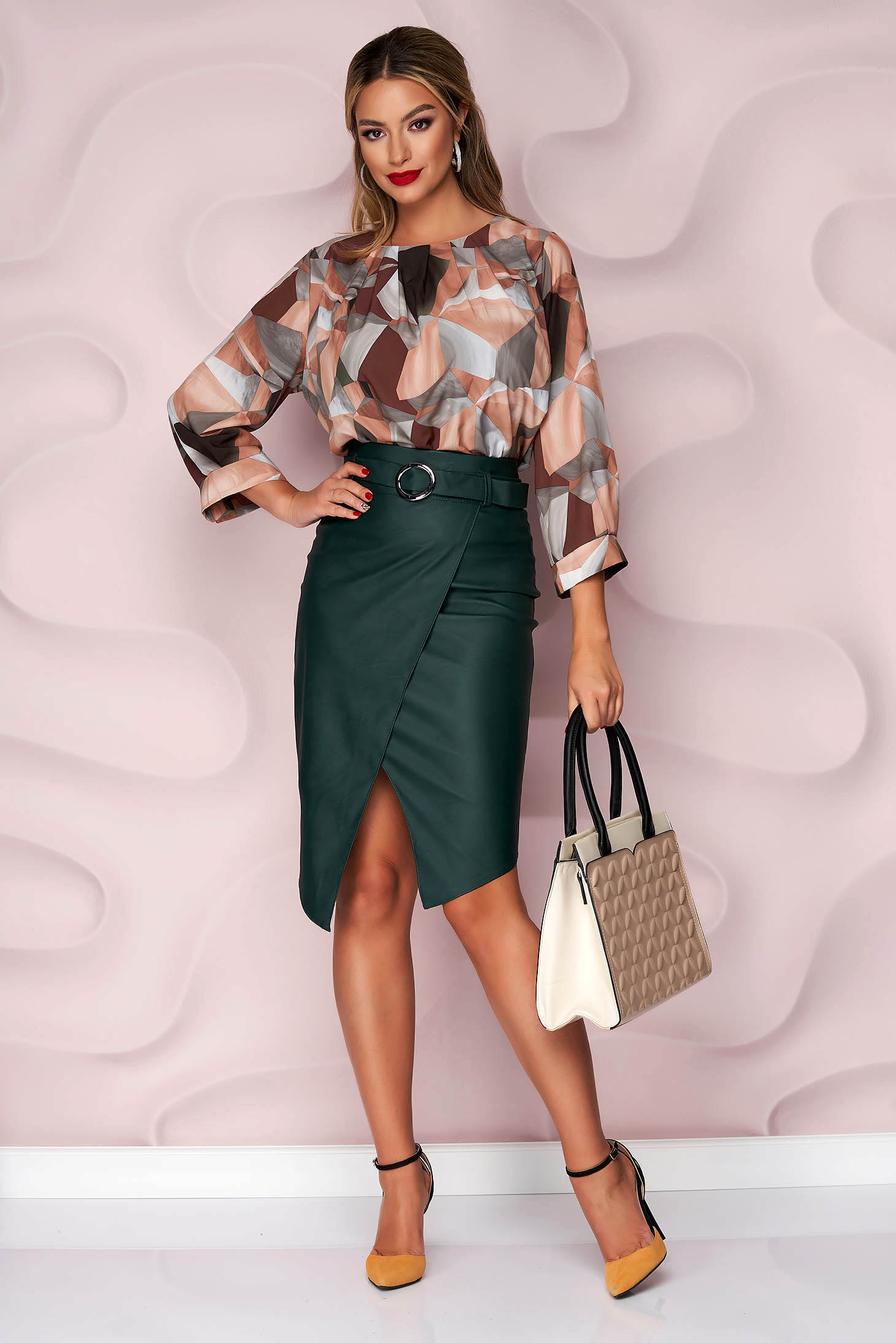 Darkgreen skirt pencil casual from ecological leather faux leather belt asymmetrical