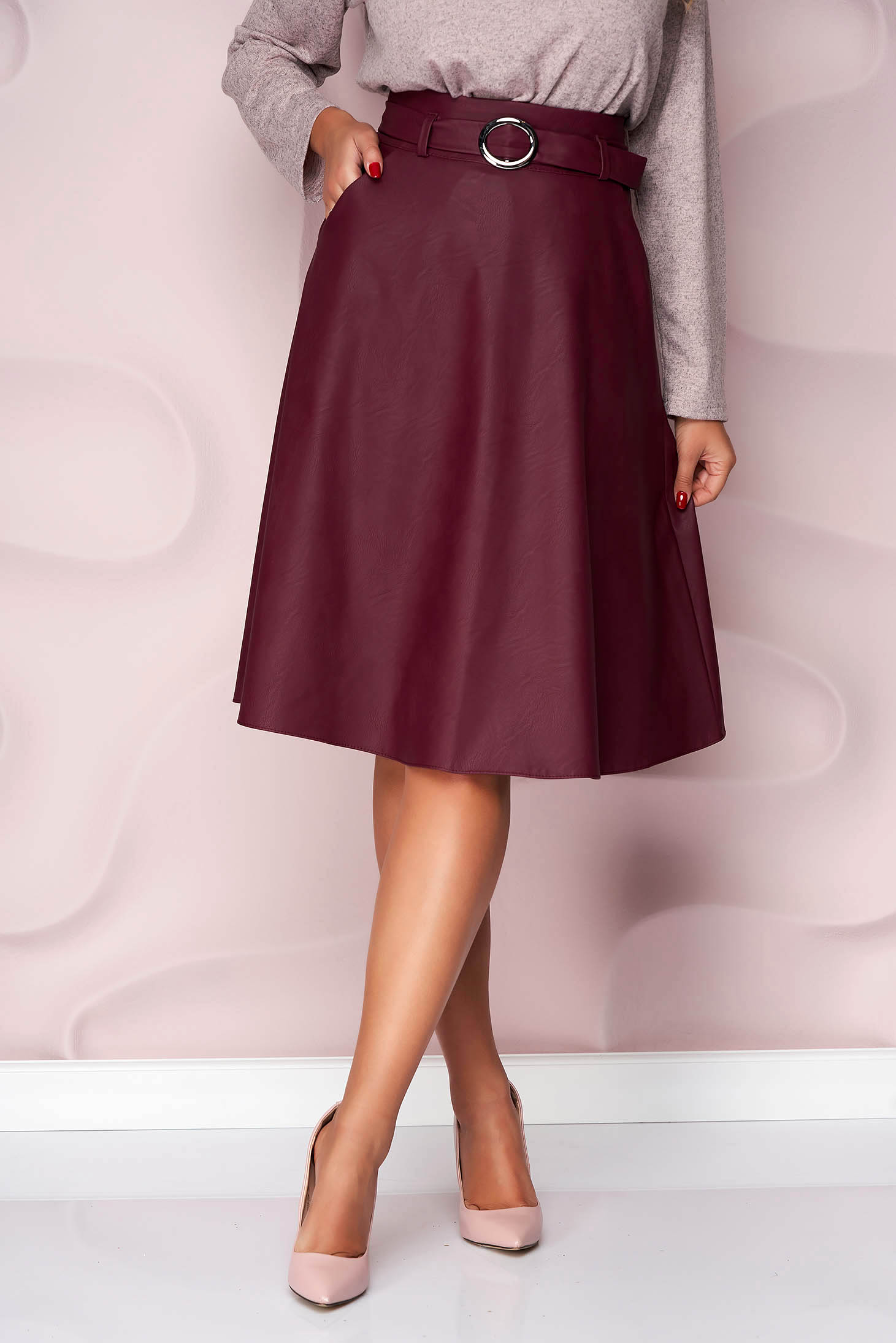 Burgundy skirt from ecological leather cloche office faux leather belt from elastic fabric