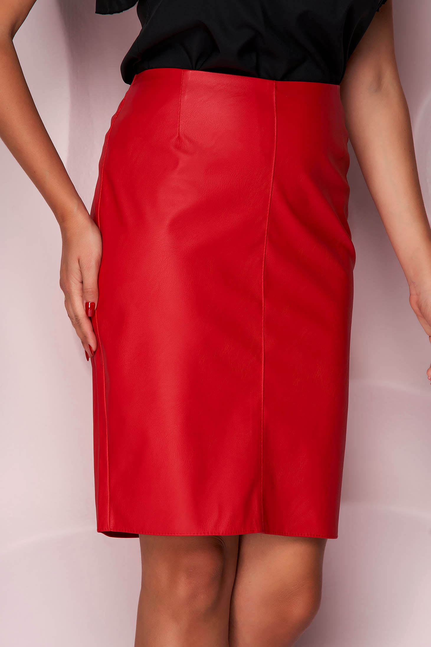Red skirt short cut pencil from ecological leather office slightly elastic fabric