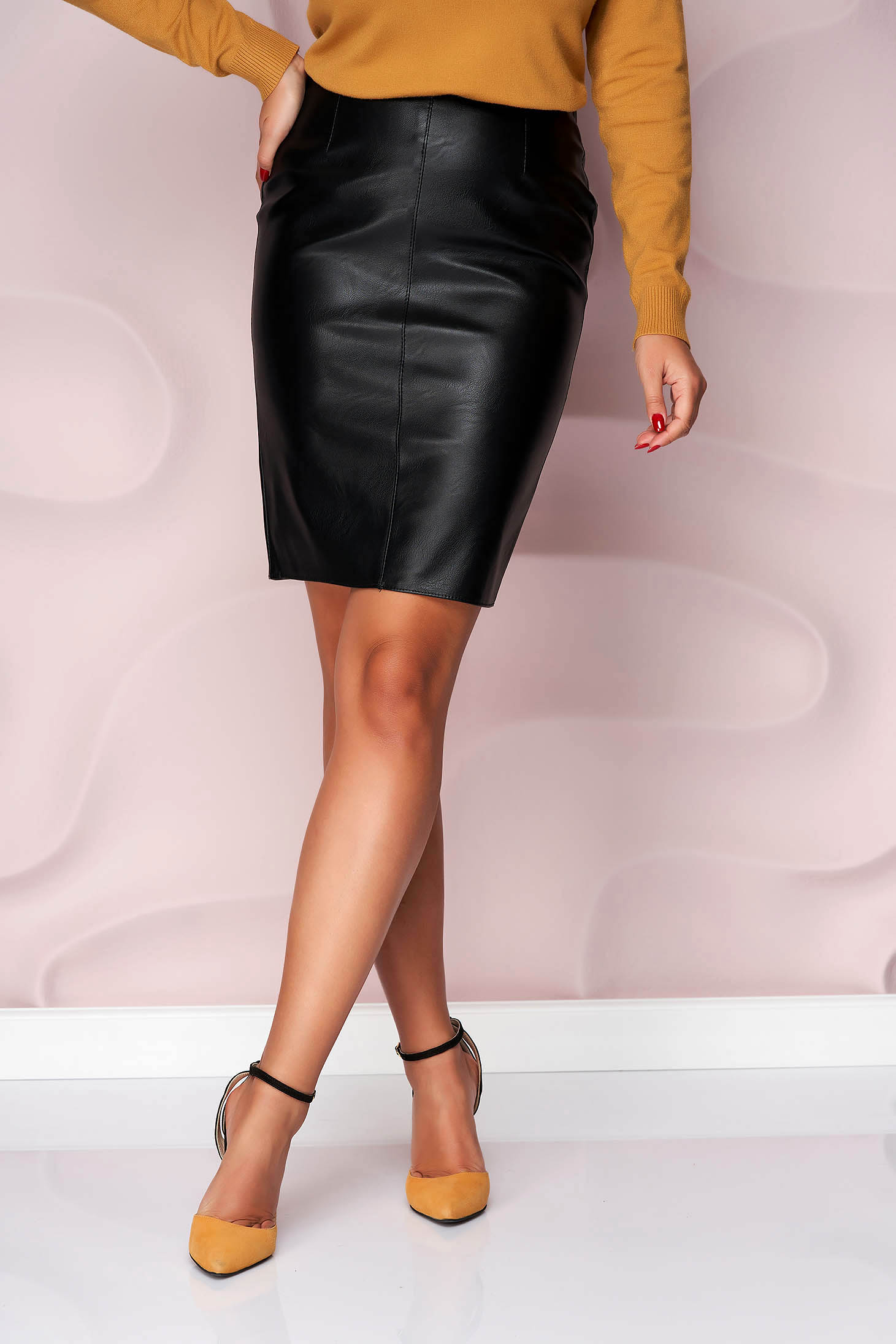 Black skirt short cut pencil from ecological leather office slightly elastic fabric