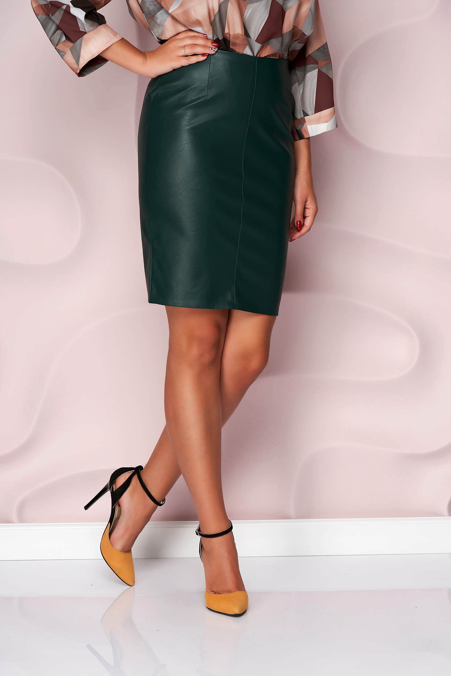 Darkgreen skirt short cut pencil from ecological leather office slightly elastic fabric