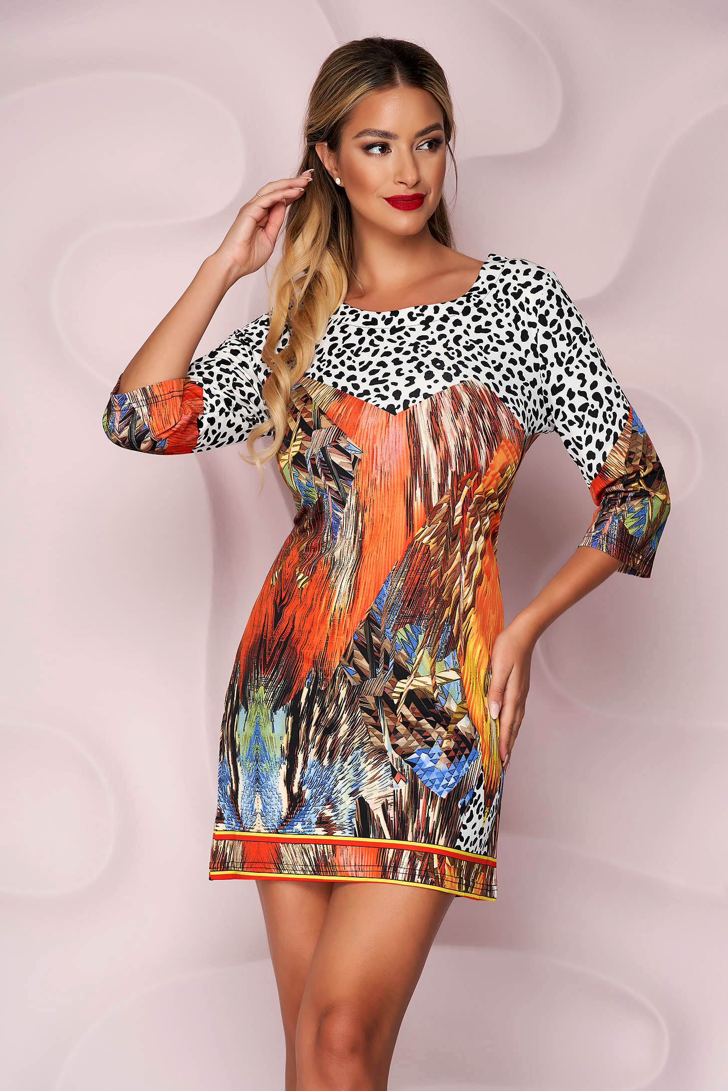 Dress short cut cotton slightly elastic fabric office straight with graphic details