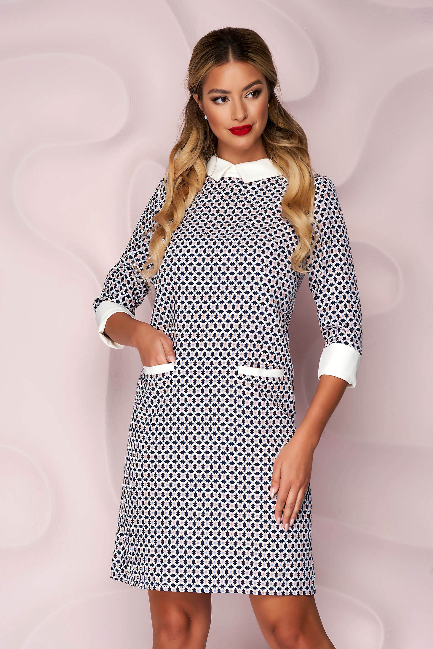 Dress thin fabric casual straight with front pockets nonelastic fabric