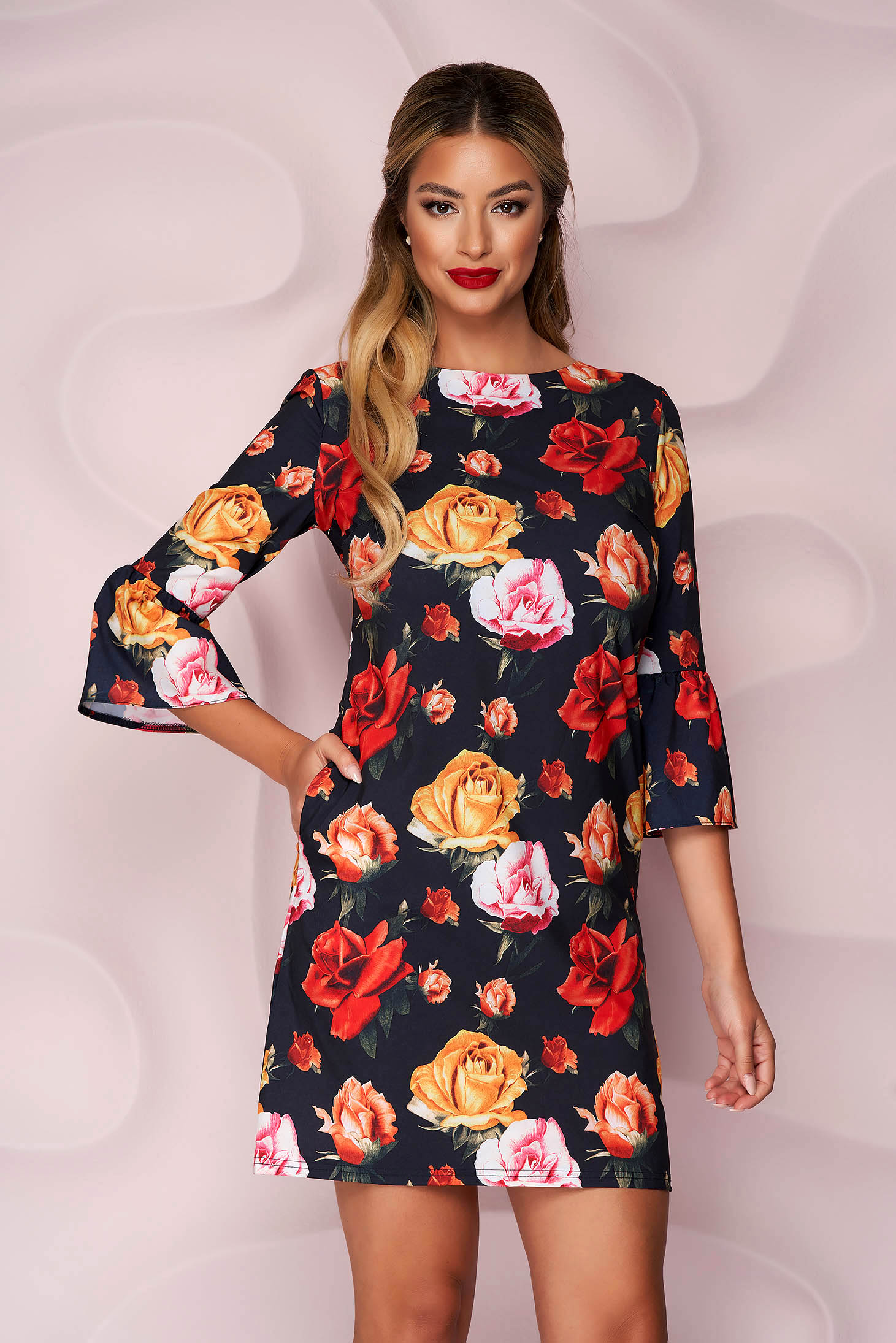 Dress short cut soft fabric with bell sleeve with pockets loose fit