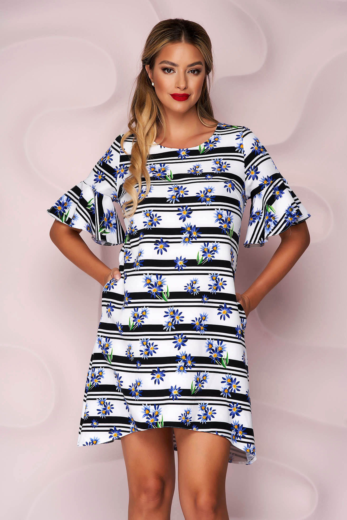 Dress short cut thin fabric nonelastic fabric lateral pockets loose fit