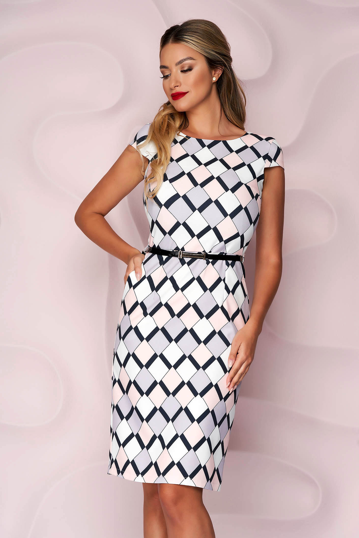 Dress pencil thin fabric casual slightly elastic fabric lateral pockets accessorized with belt