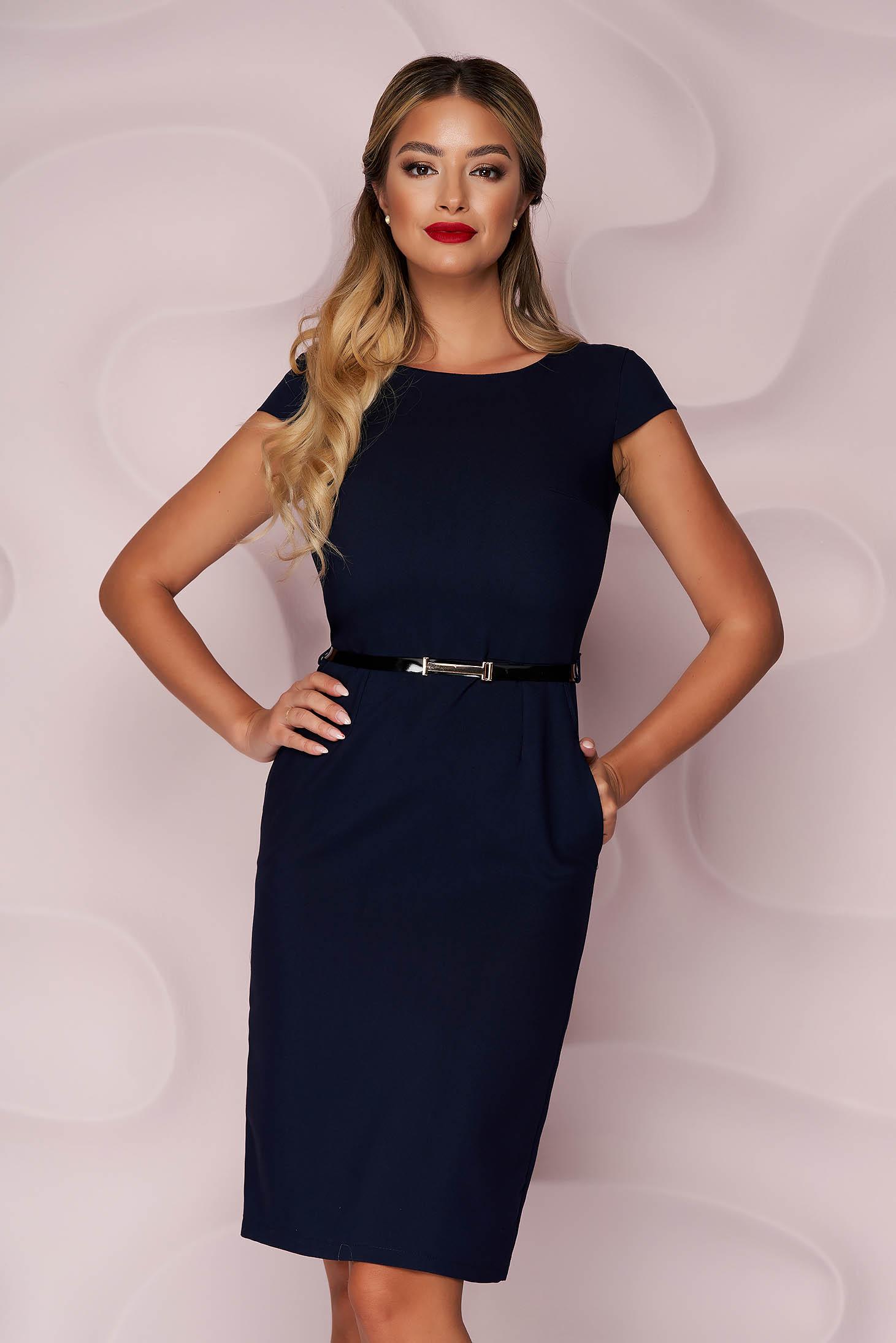 StarShinerS darkblue dress office midi pencil cloth thin fabric nonelastic fabric accessorized with belt