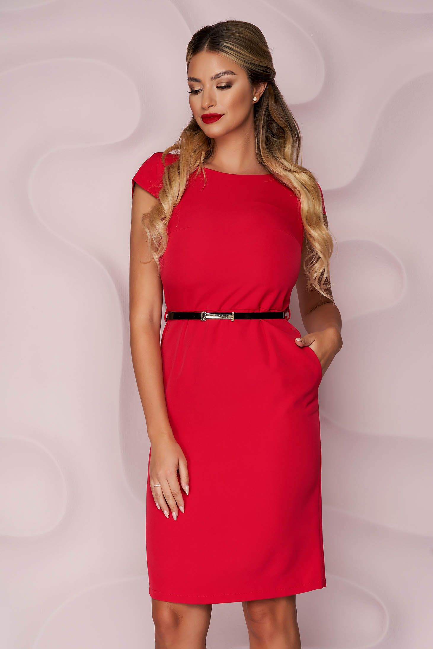 StarShinerS red dress office midi pencil cloth thin fabric nonelastic fabric accessorized with belt