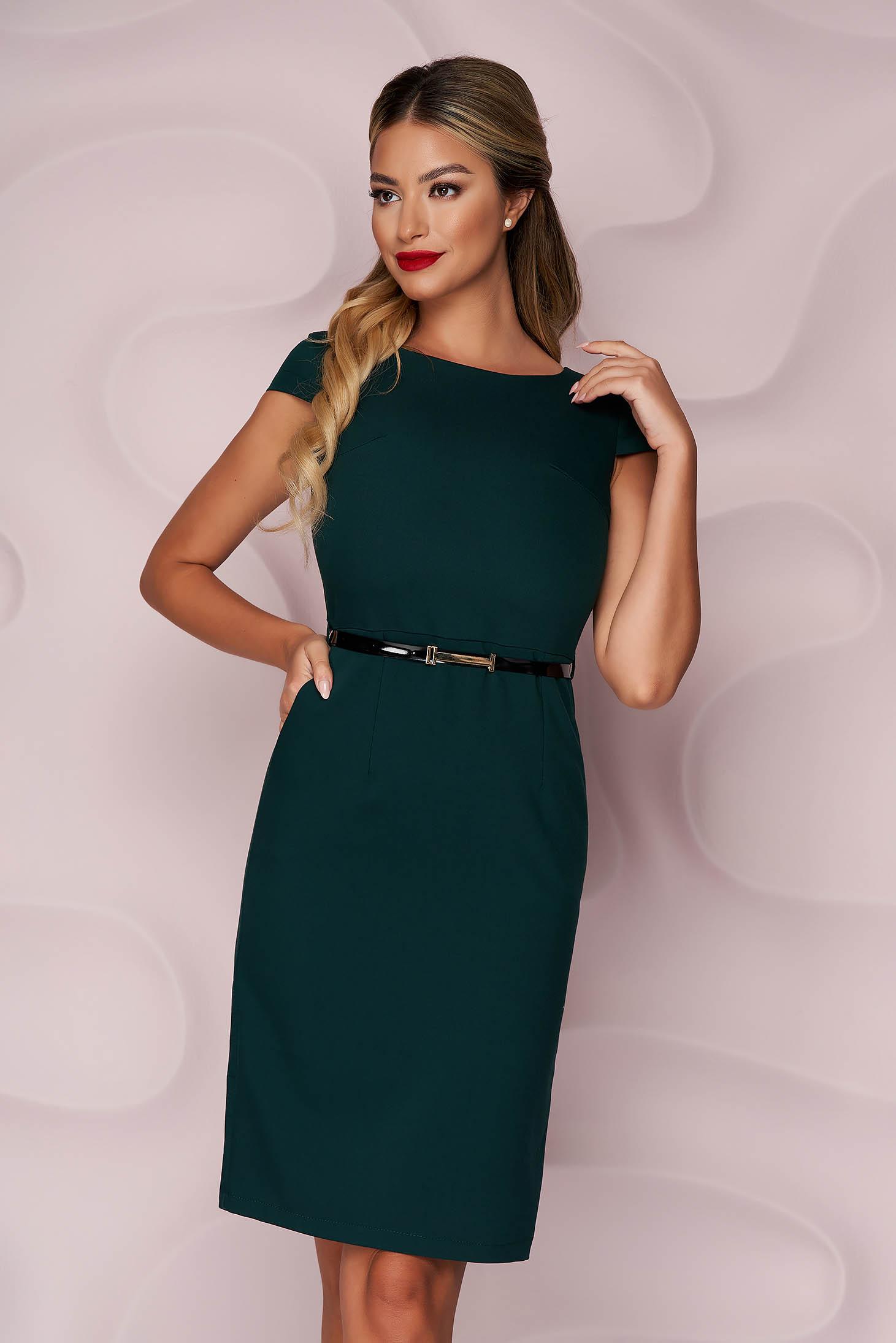 StarShinerS darkgreen dress office midi pencil cloth thin fabric nonelastic fabric accessorized with belt