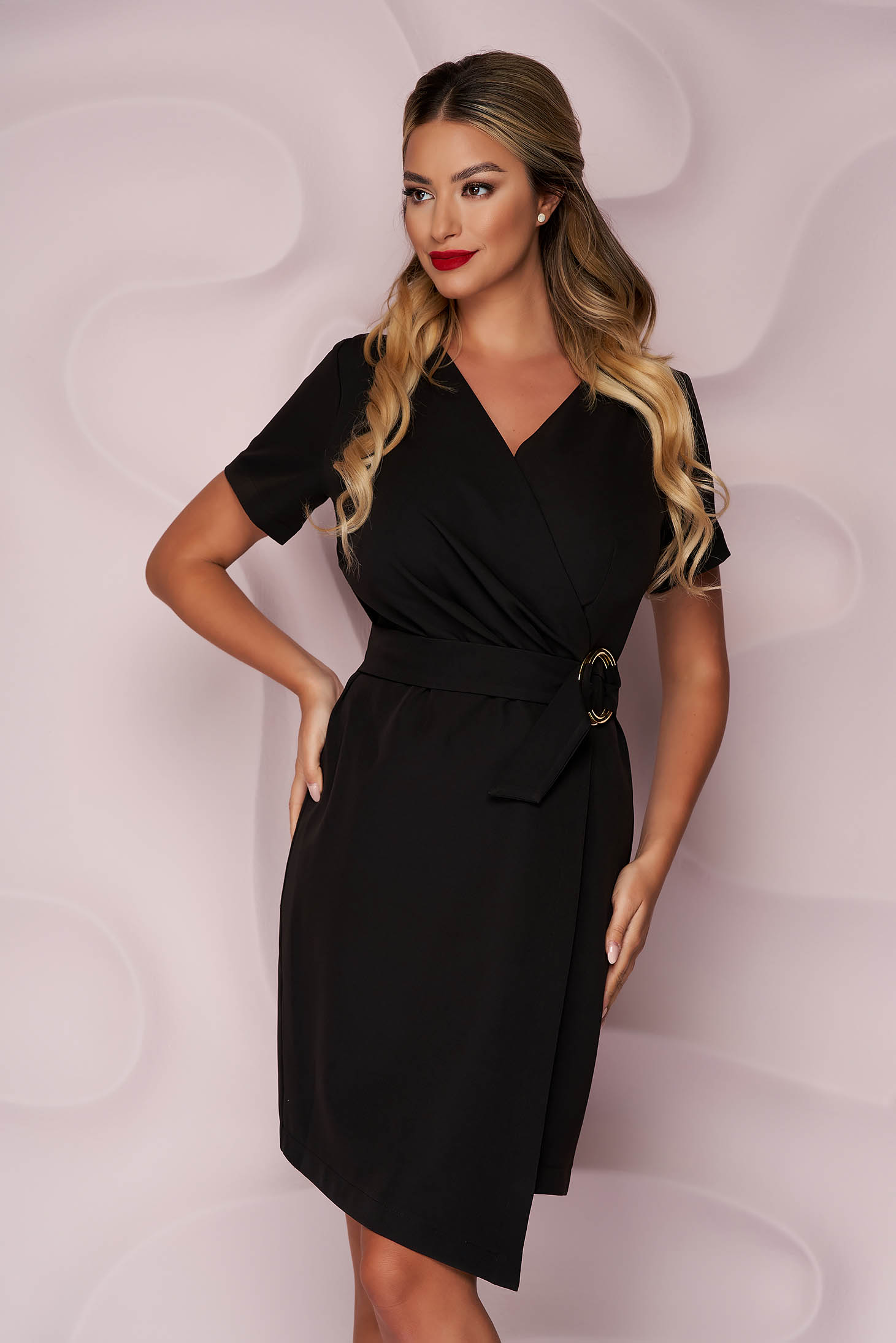 StarShinerS black dress office pencil cloth thin fabric wrap over skirt accessorized with tied waistband