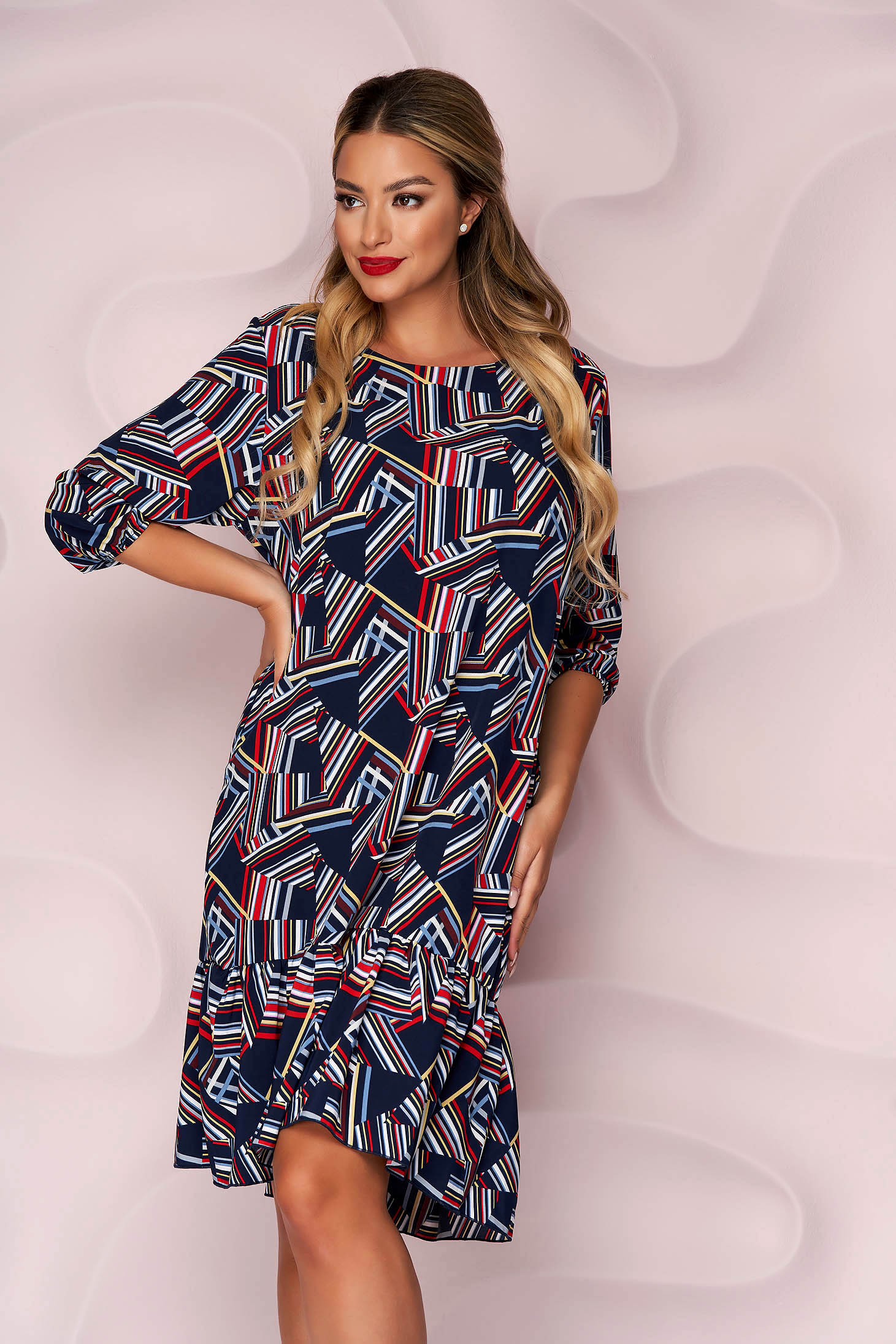 Dress office midi thin fabric slightly elastic fabric with ruffles at the buttom of the dress