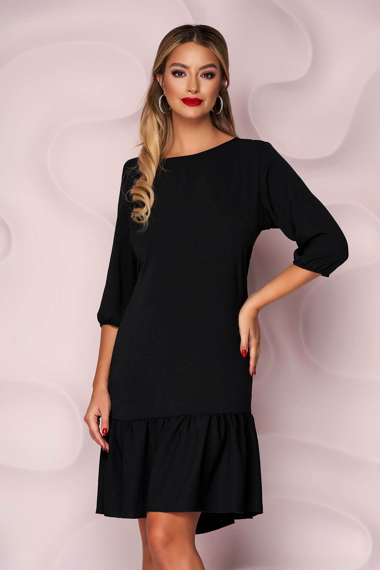 Black dress with ruffle details from veil fabric loose fit with 3/4 sleeves