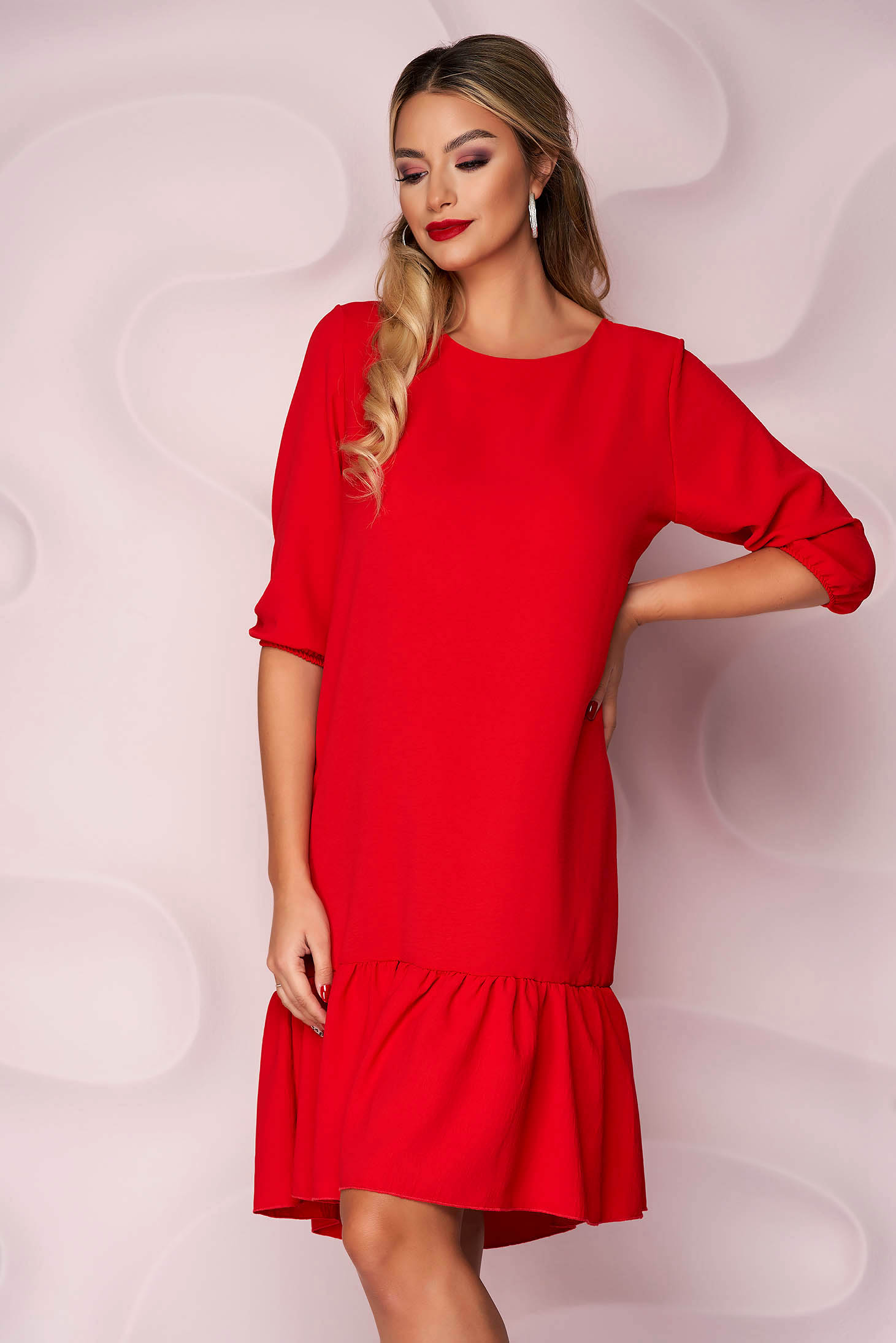 Red dress with ruffle details from veil fabric loose fit with 3/4 sleeves