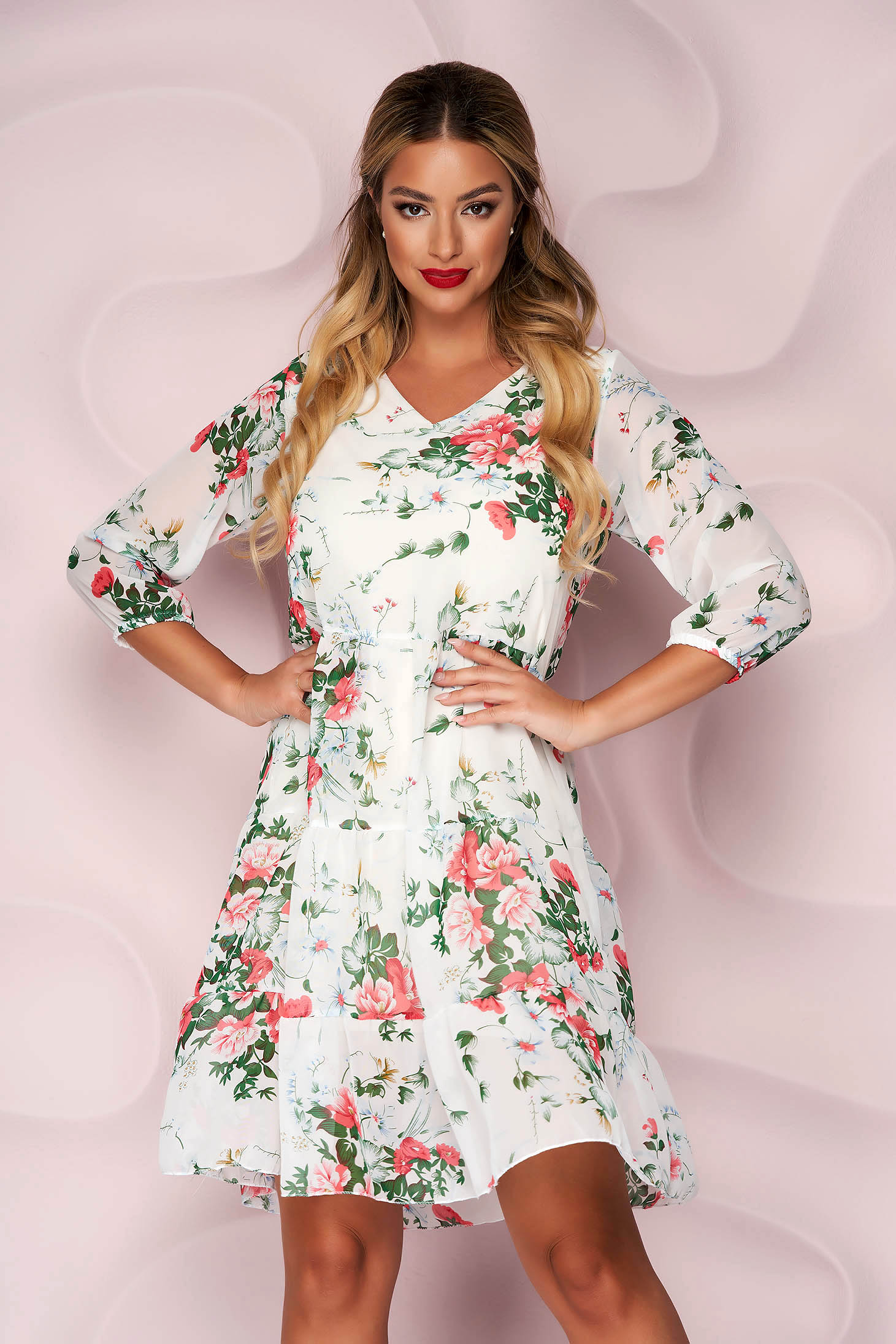From veil fabric loose fit with ruffle details with 3/4 sleeves dress