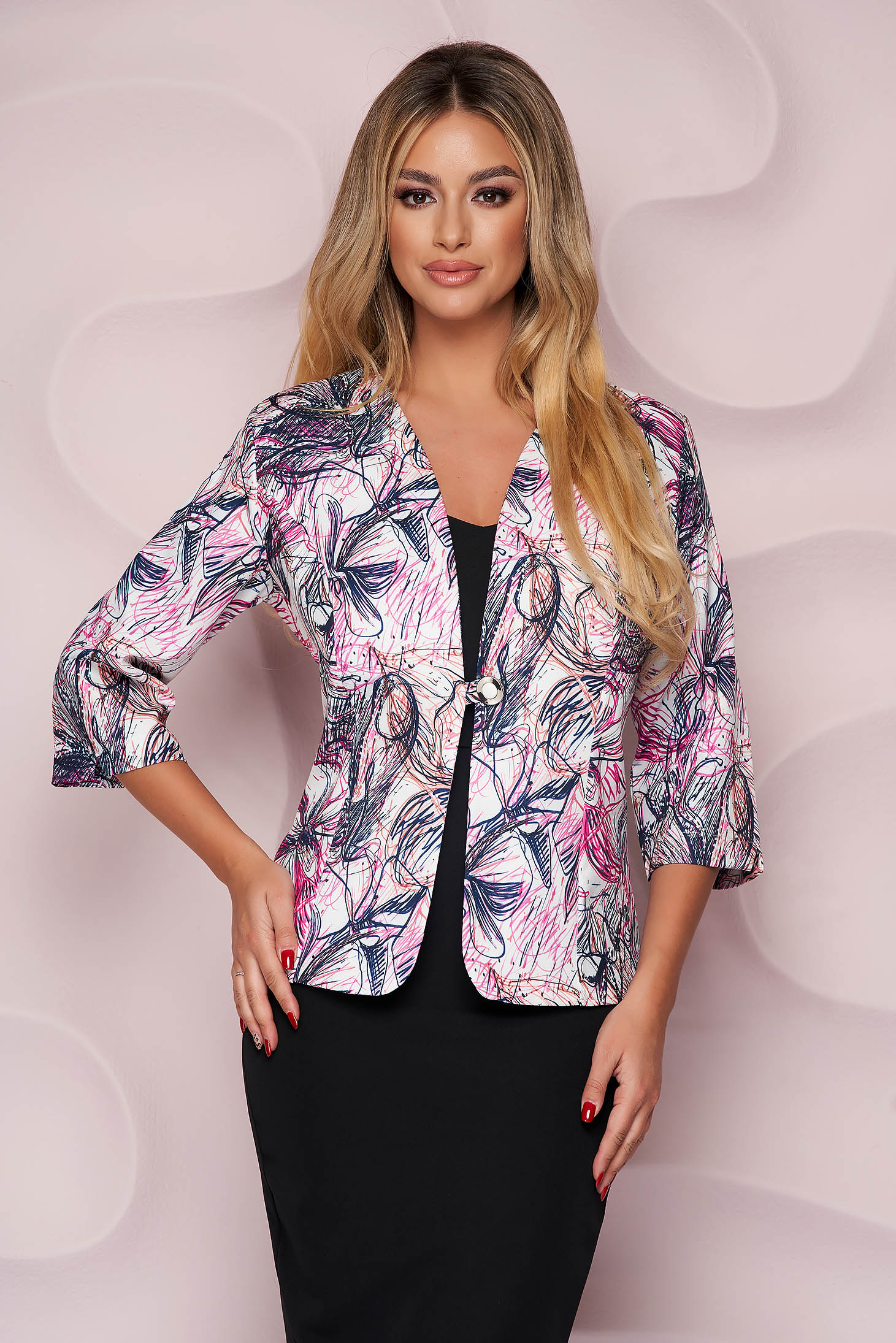 Jacket elegant cloth tented with floral print thin fabric