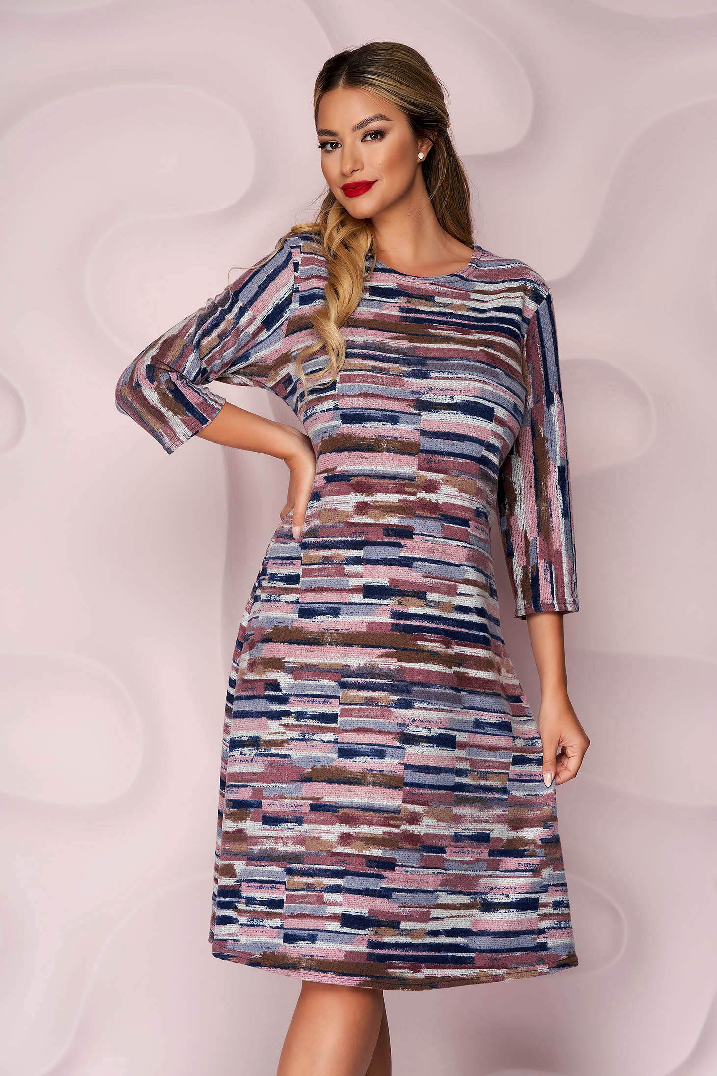 Dress loose fit knitted thin fabric from elastic fabric