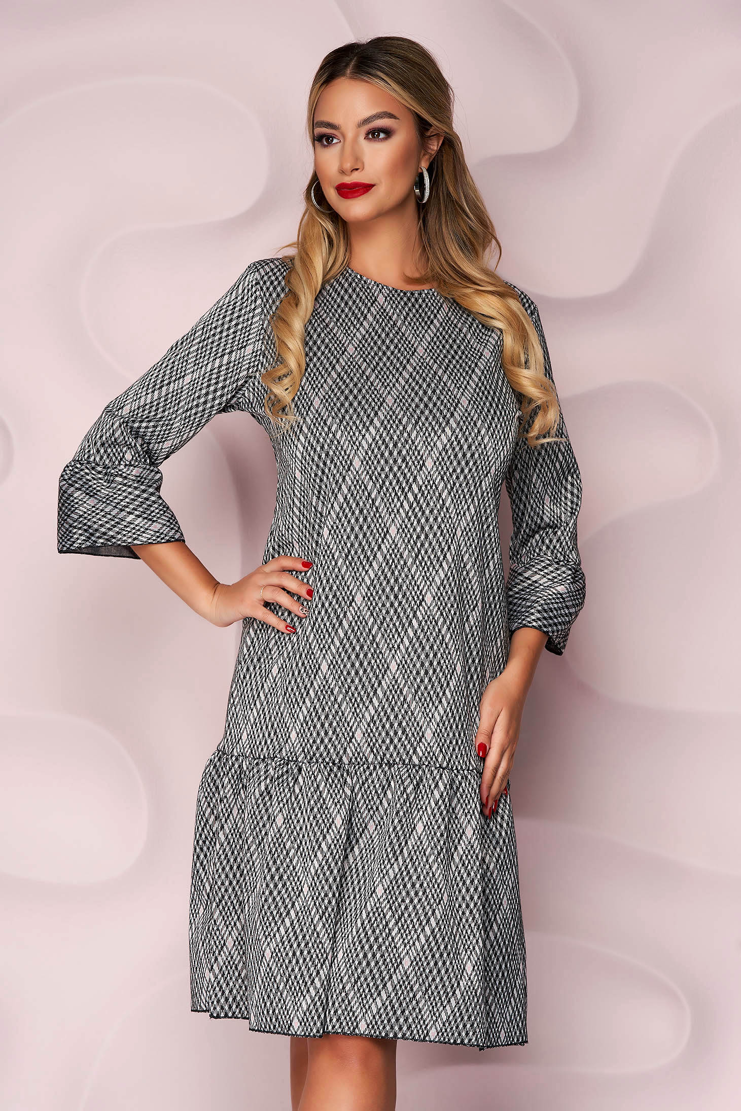 Dress office straight midi thin fabric from elastic fabric with ruffles at the buttom of the dress