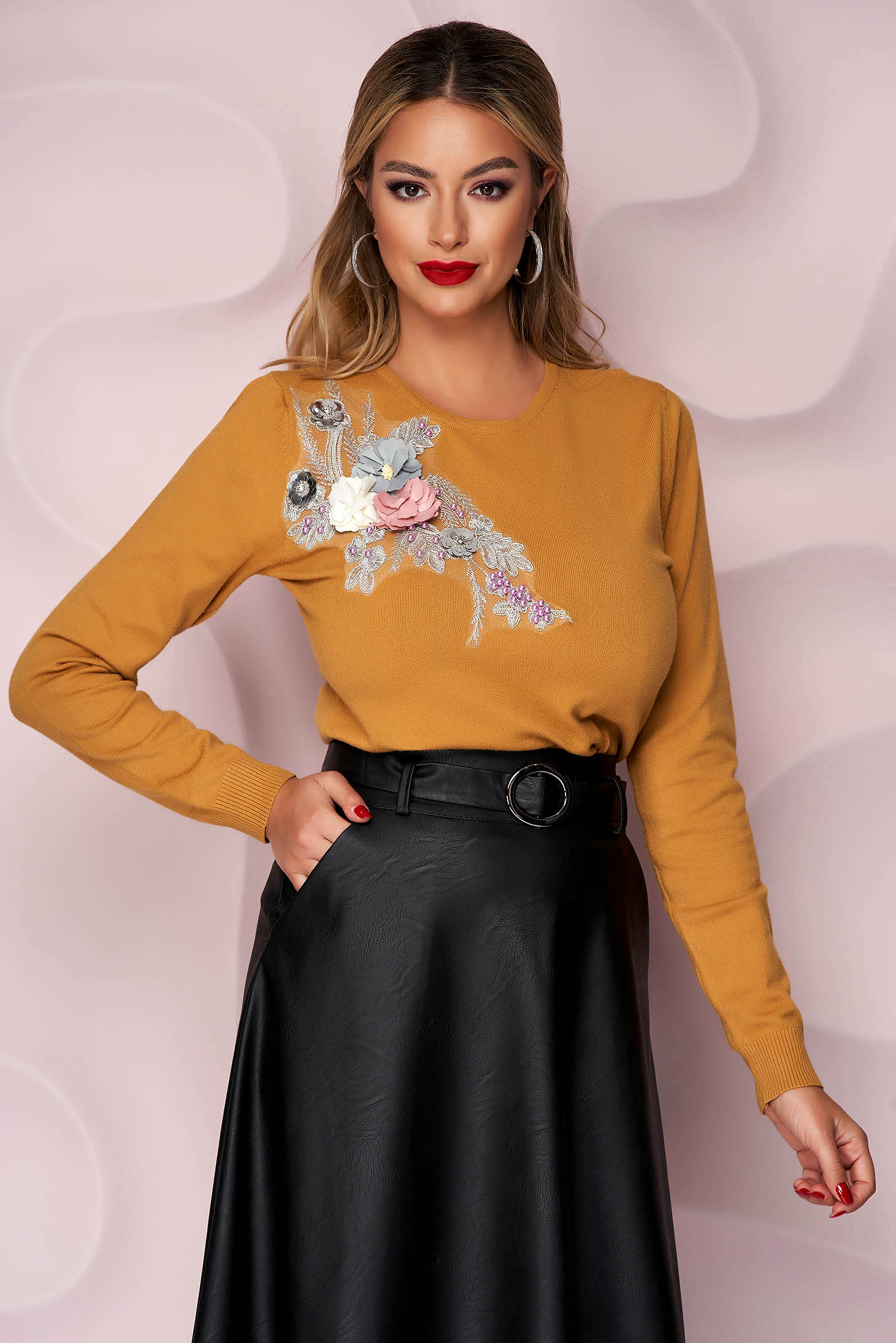 Mustard sweater knitted loose fit with raised flowers with 3d effect