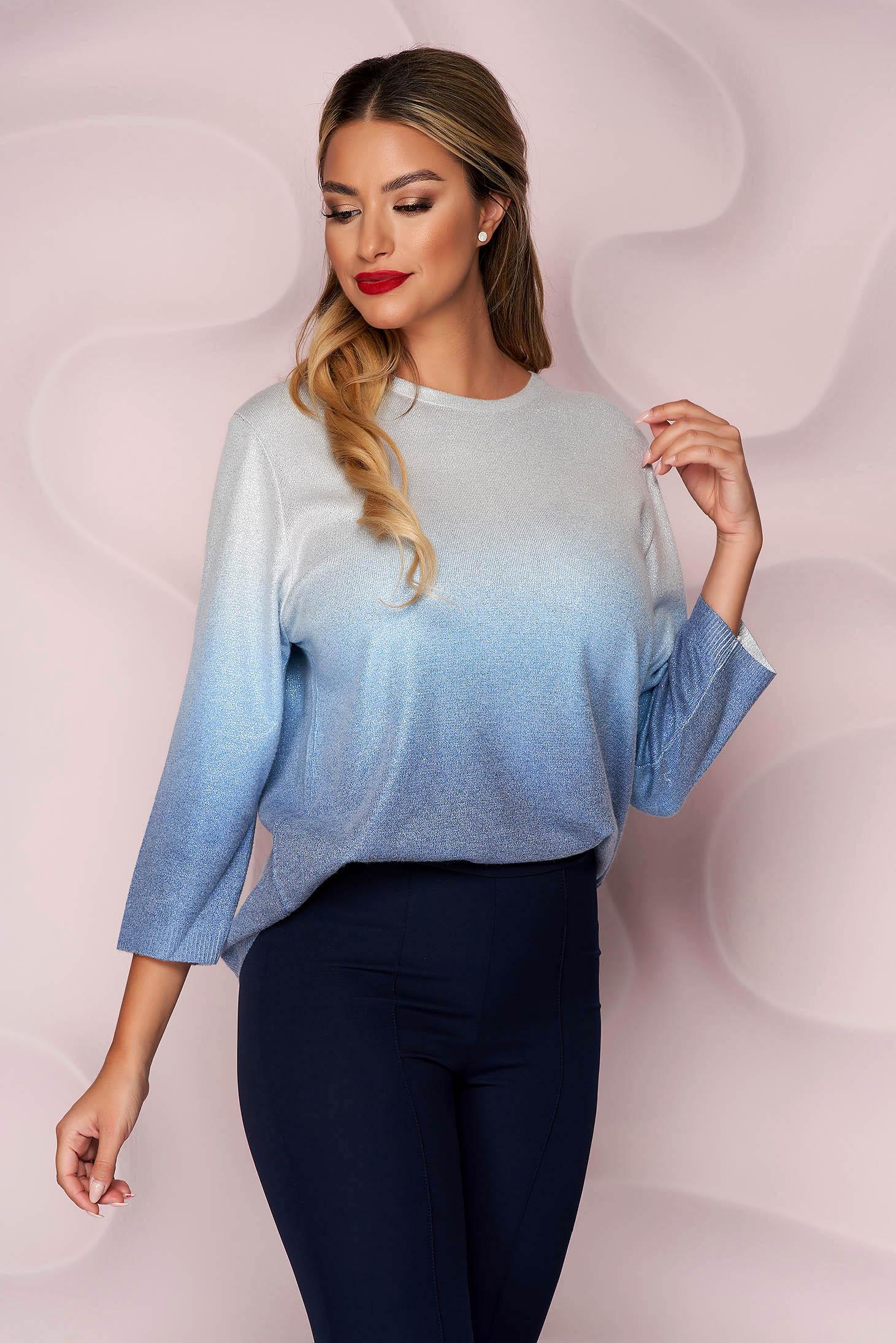 Pulover Lady Pandora albastru casual cu croi larg din material elastic tricotat cu maneci trei-sferturi