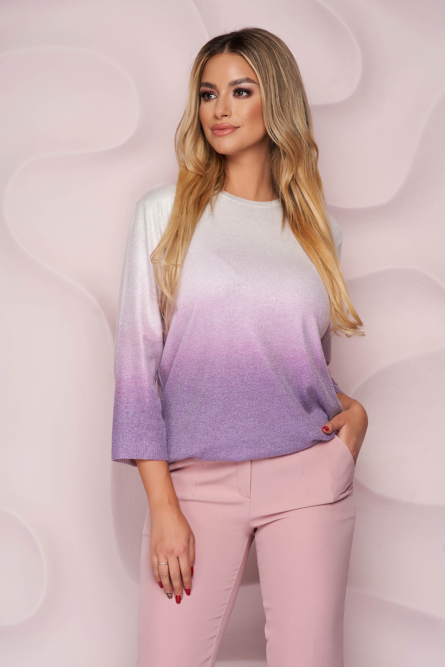 Lila sweater knitted loose fit casual with 3/4 sleeves from elastic fabric