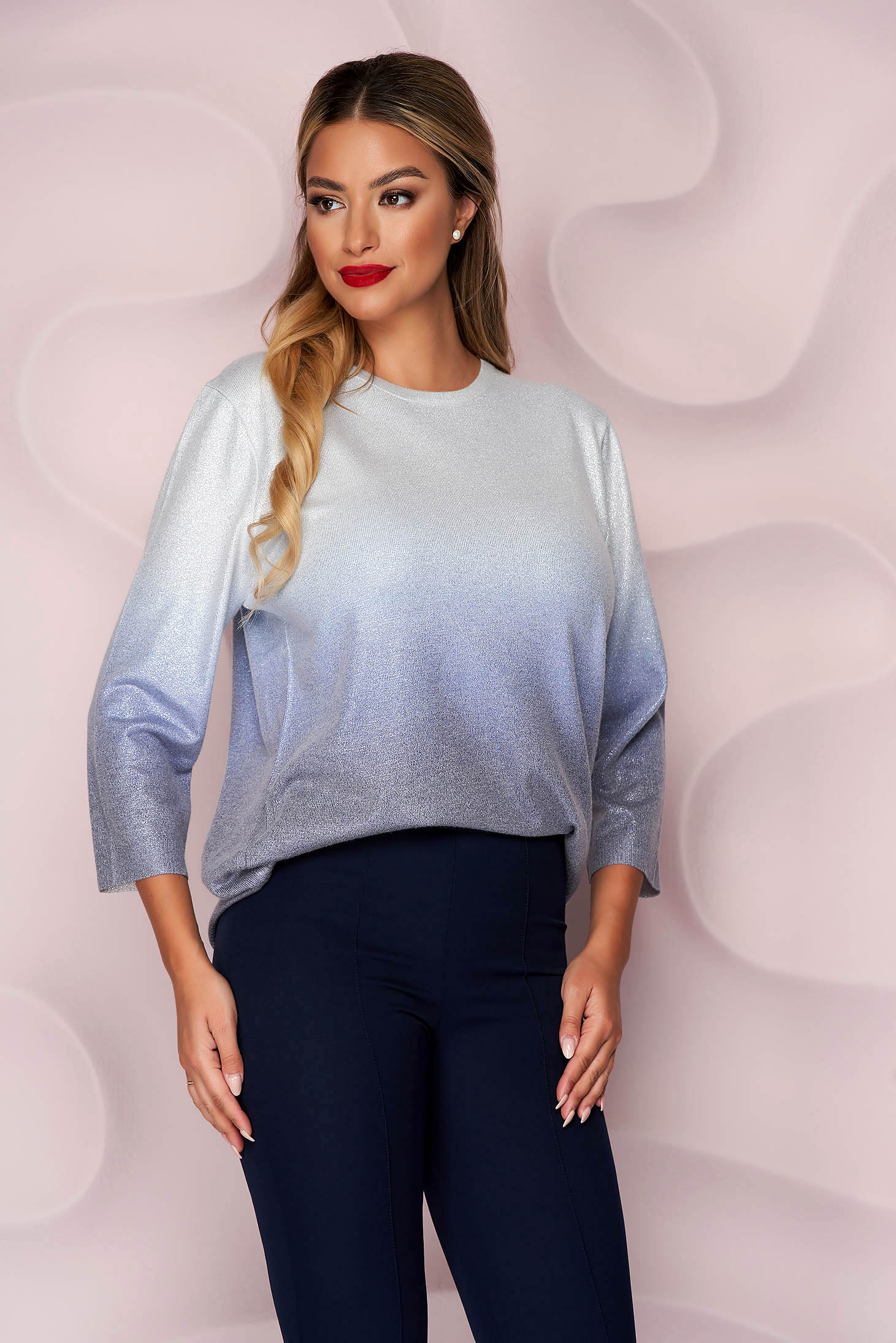 Silver sweater knitted loose fit casual with 3/4 sleeves from elastic fabric
