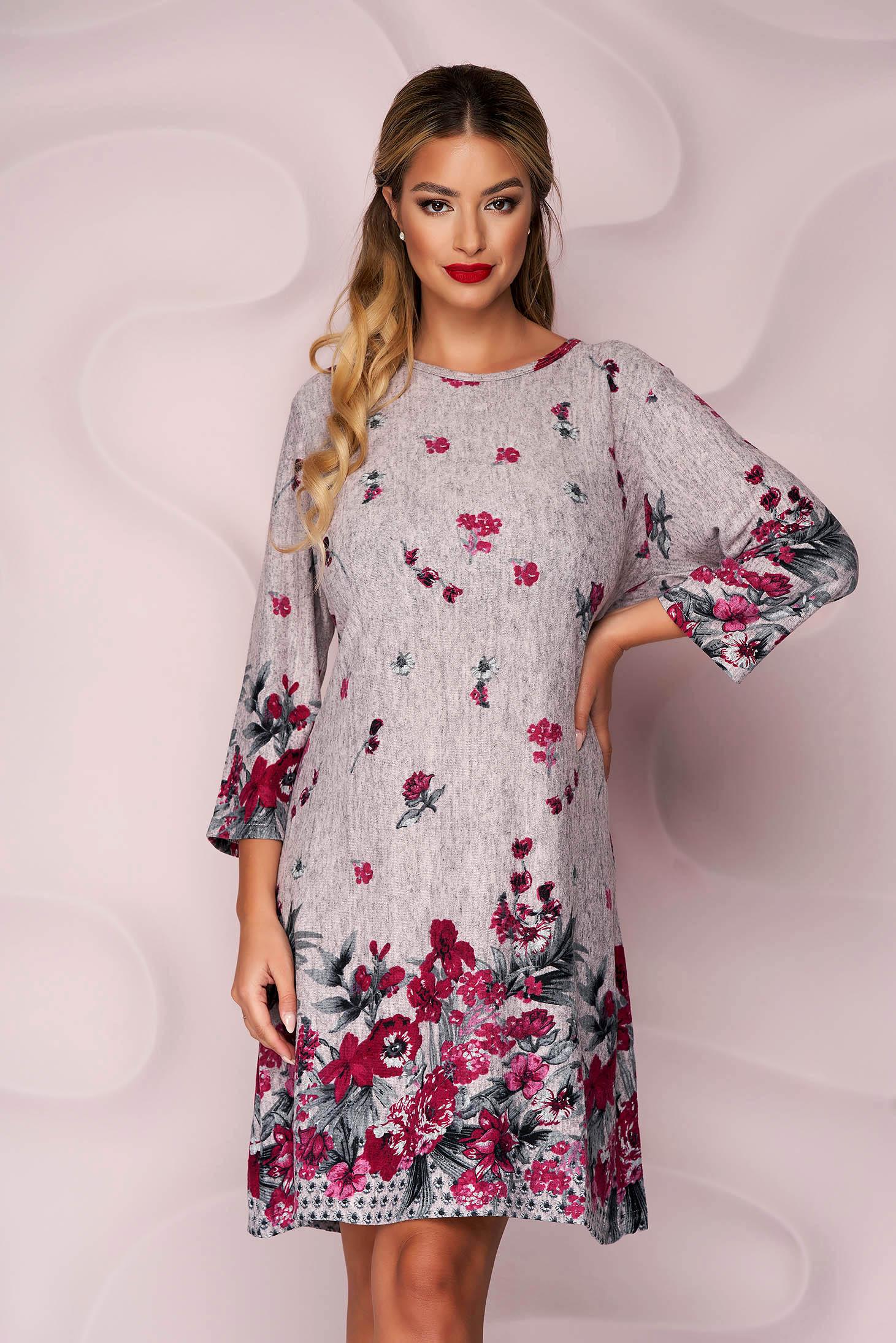 Púder rózsaszínű casual egyenes ruha vékony, rugalmas, kötött anyagból