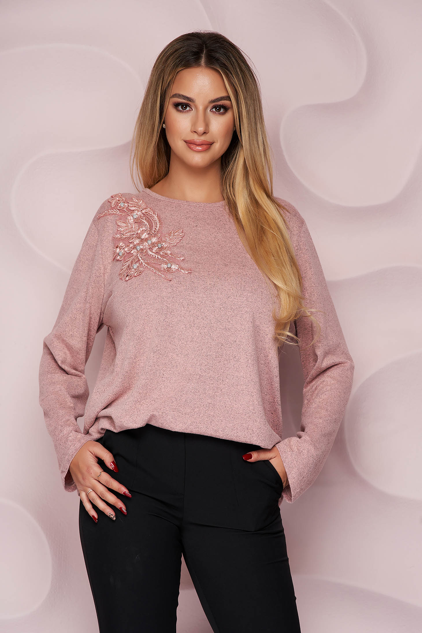 Pink sweater office loose fit thin fabric from elastic fabric knitted fabric